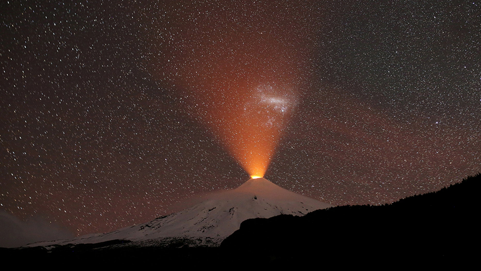 The Villarrica Volcano is seen at night from Pucon, Chile, Sept. 2, 2018. Picture taken September 2, 2018. (REUTERS/Cristobal Saavedra Escobar)