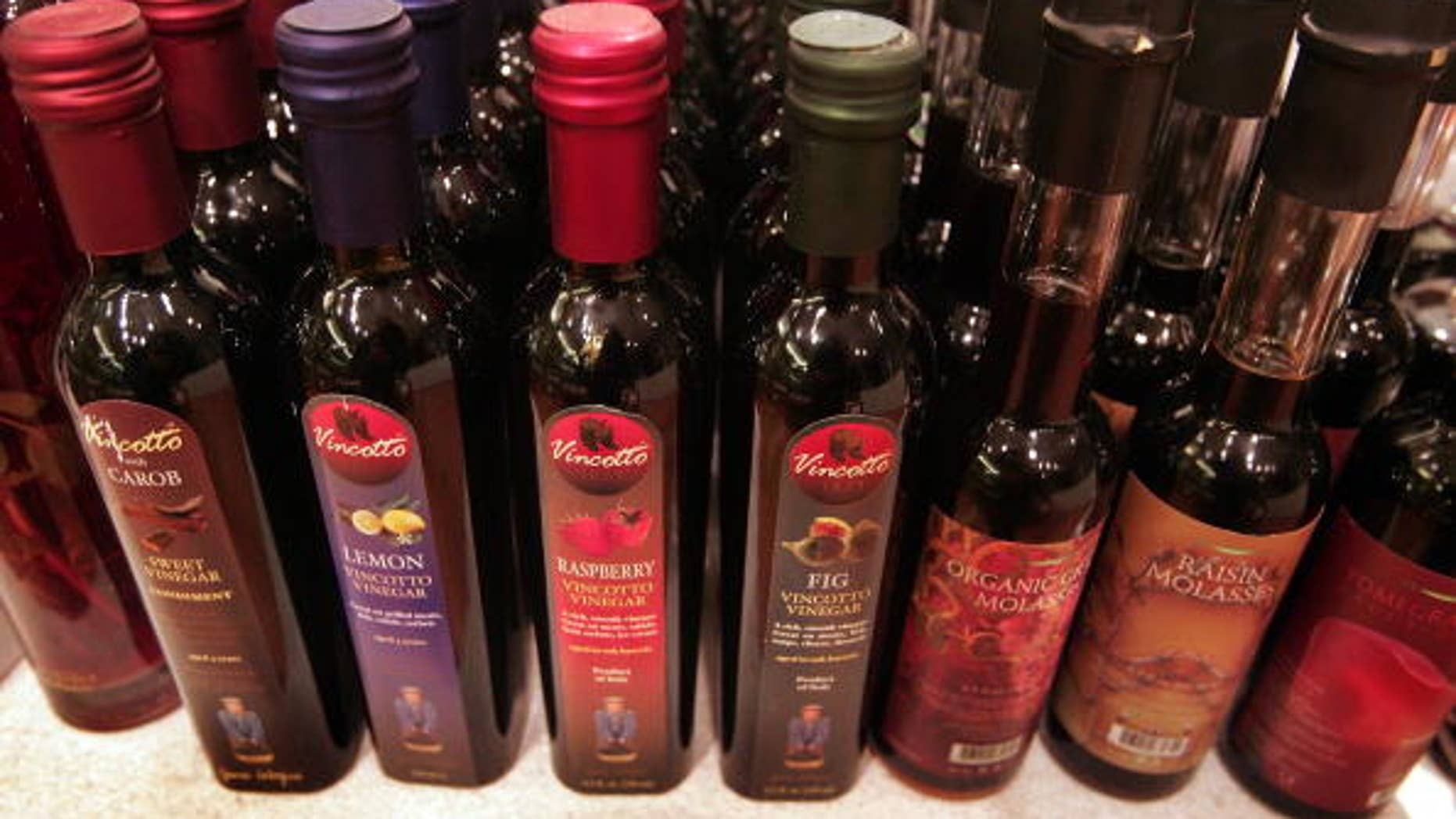 Gourmet vinegar is offered for sale in Chicago, Illinois.