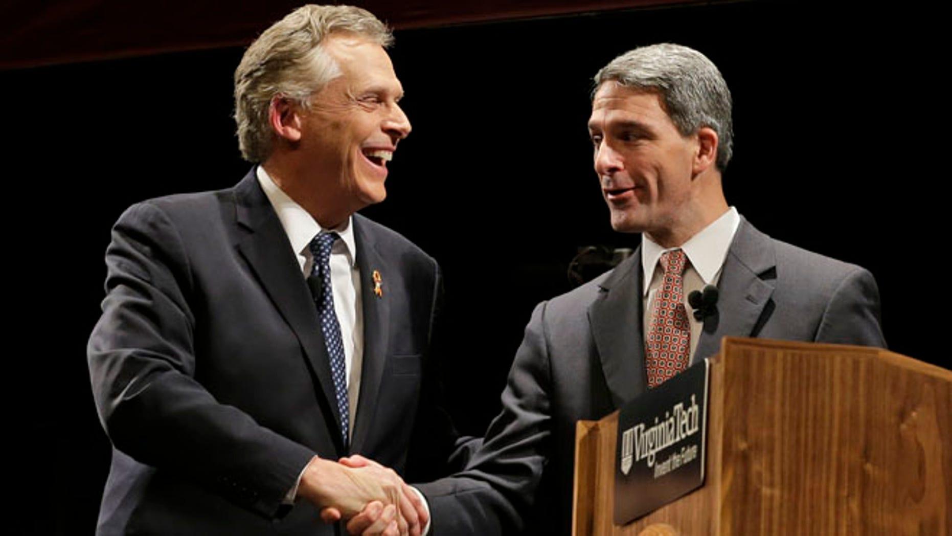 Democratic gubernatorial candidate, Terry McAuliffe and Republican challenger Virginia Attorney General Ken Cuccinelli after a debate at Virginia Tech in Blacksburg, Va., Thursday, Oct. 24, 2013.