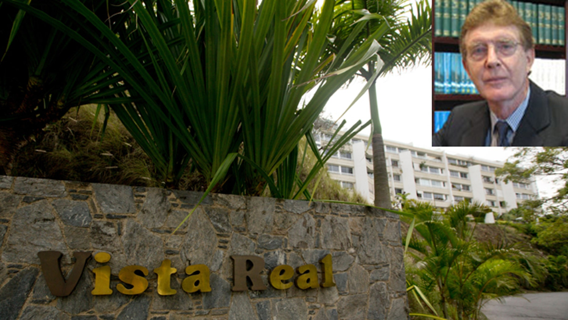 The main entrance of the Vista Real building complex, where John Ralston Pate (inset), was found dead on Sunday, Aug. 9, 2015. (Photos: Main, AP Photo/Fernando Llano; inset, via De Sola Pate & Brown)