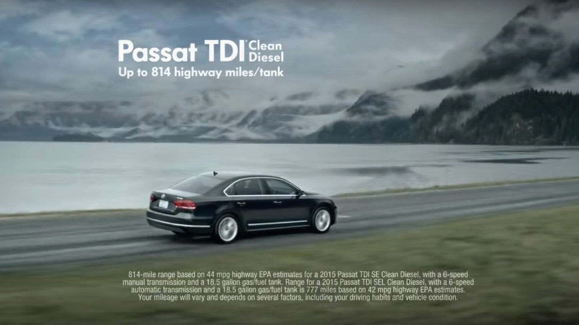 This is a framegrab from a Volkswagen commercial for a vehicle with their TDI Clean Diesel engine. (Volkswagen/Youtube via AP)