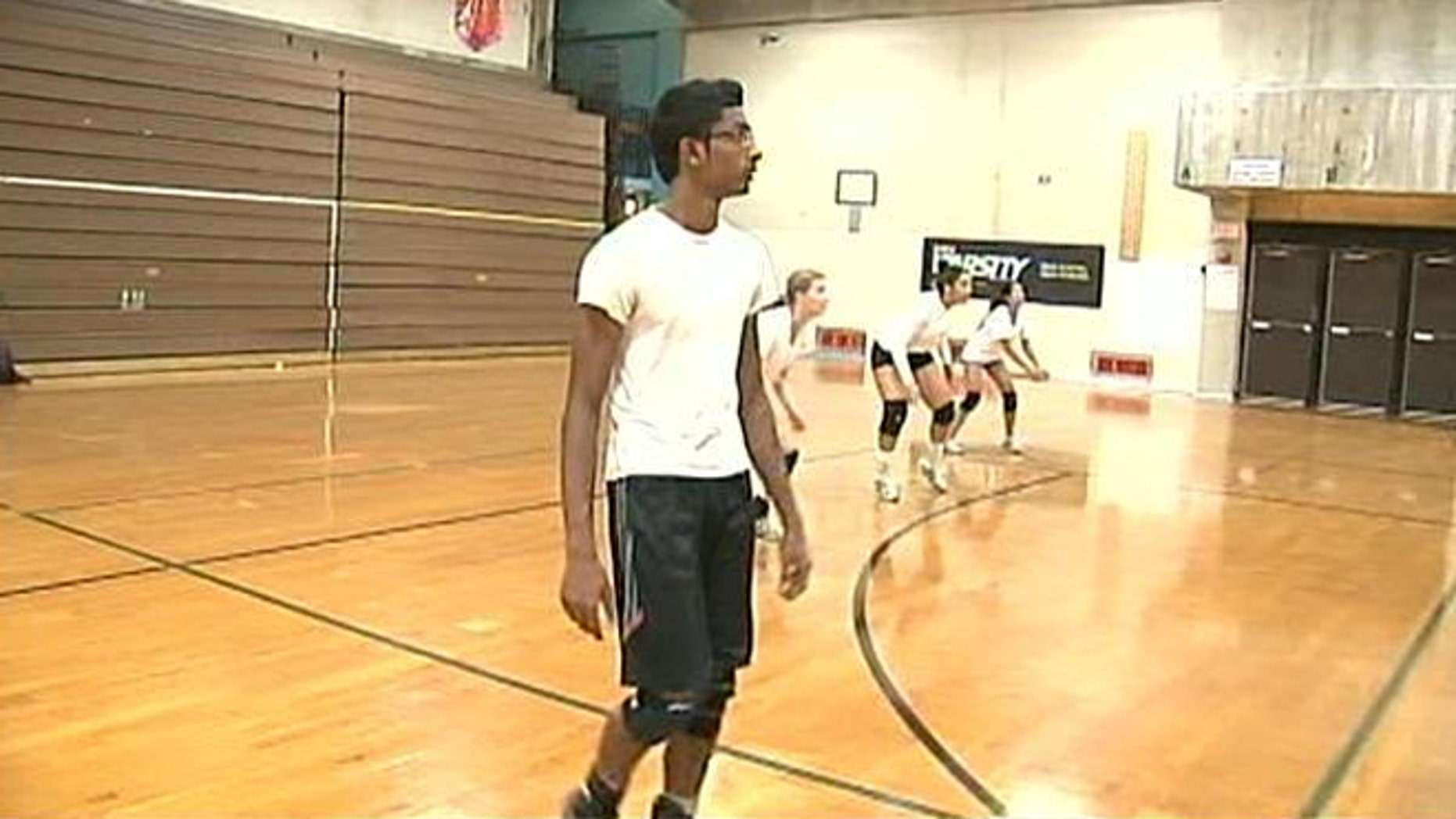 Jenson Daniel played volleyball on his high school's all-girl team last year.