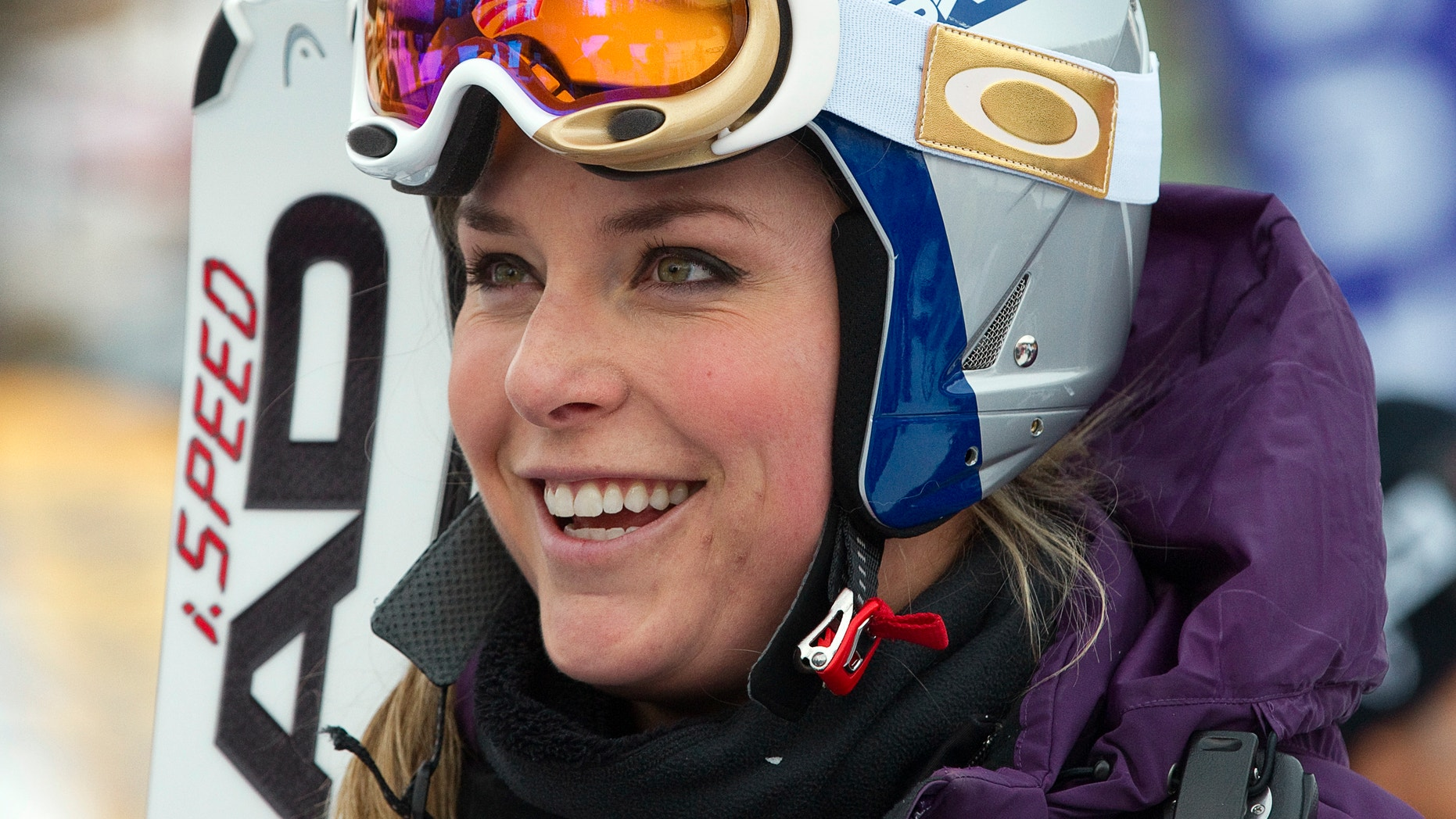Nov. 29, 2011: Lindsay Vonn of the U.S. reacts following her run during training for the Women's World Cup alpine skiing race in Lake Louise, Alberta