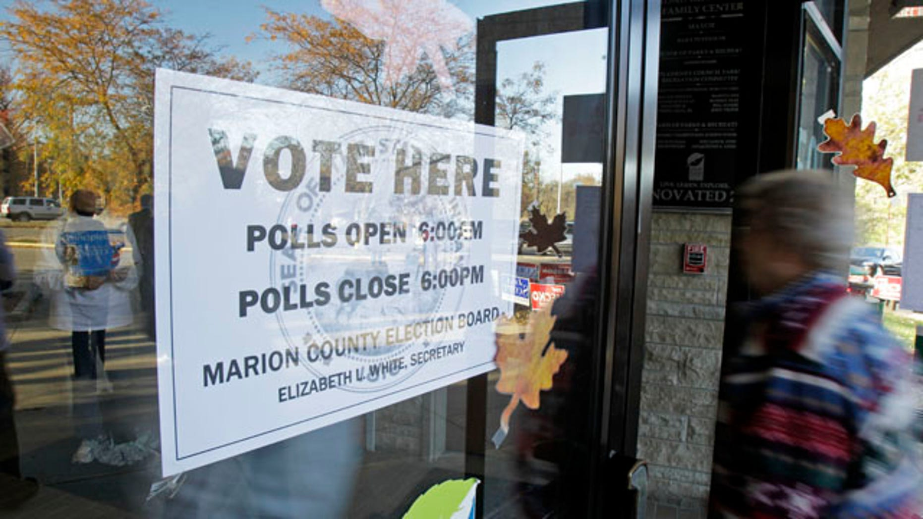 Nov. 2: A voter arrives at the polls in Indianapolis.