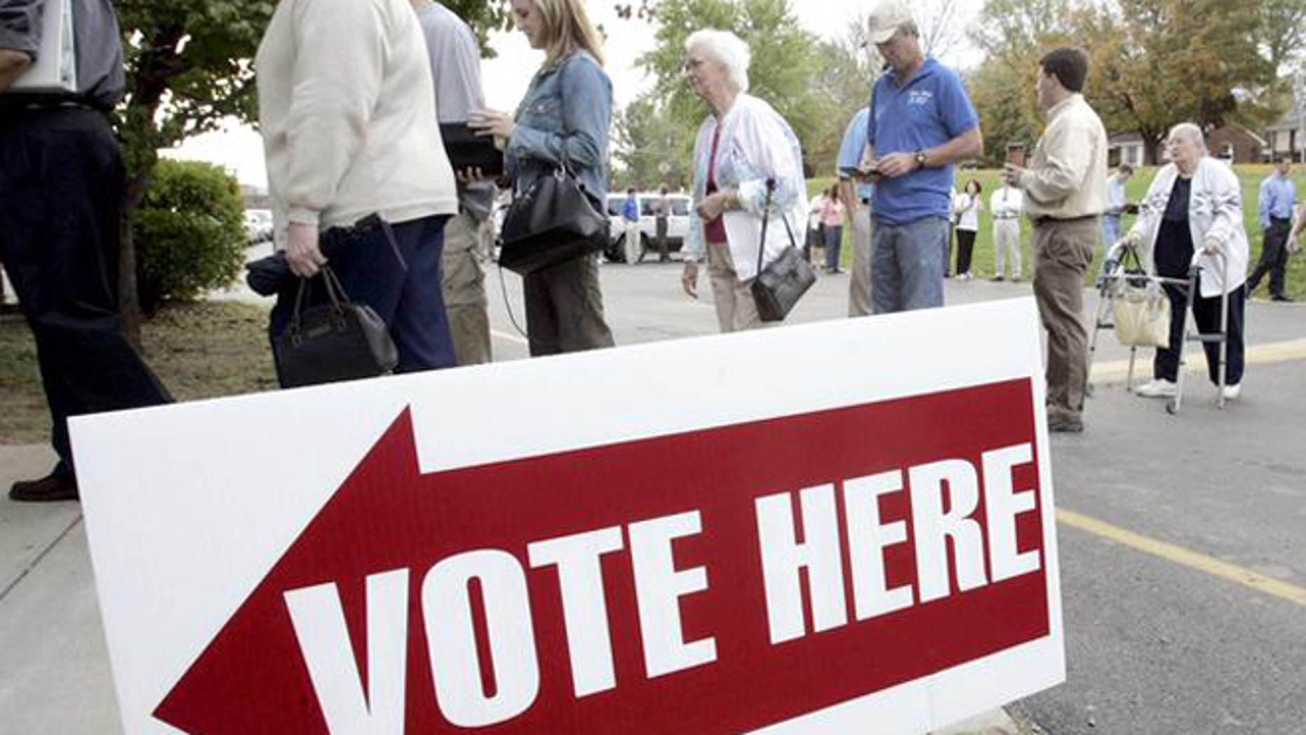 FILE: 2004: People line up to vote at Crieve Hall Elementary School in Nashville, Tenn.