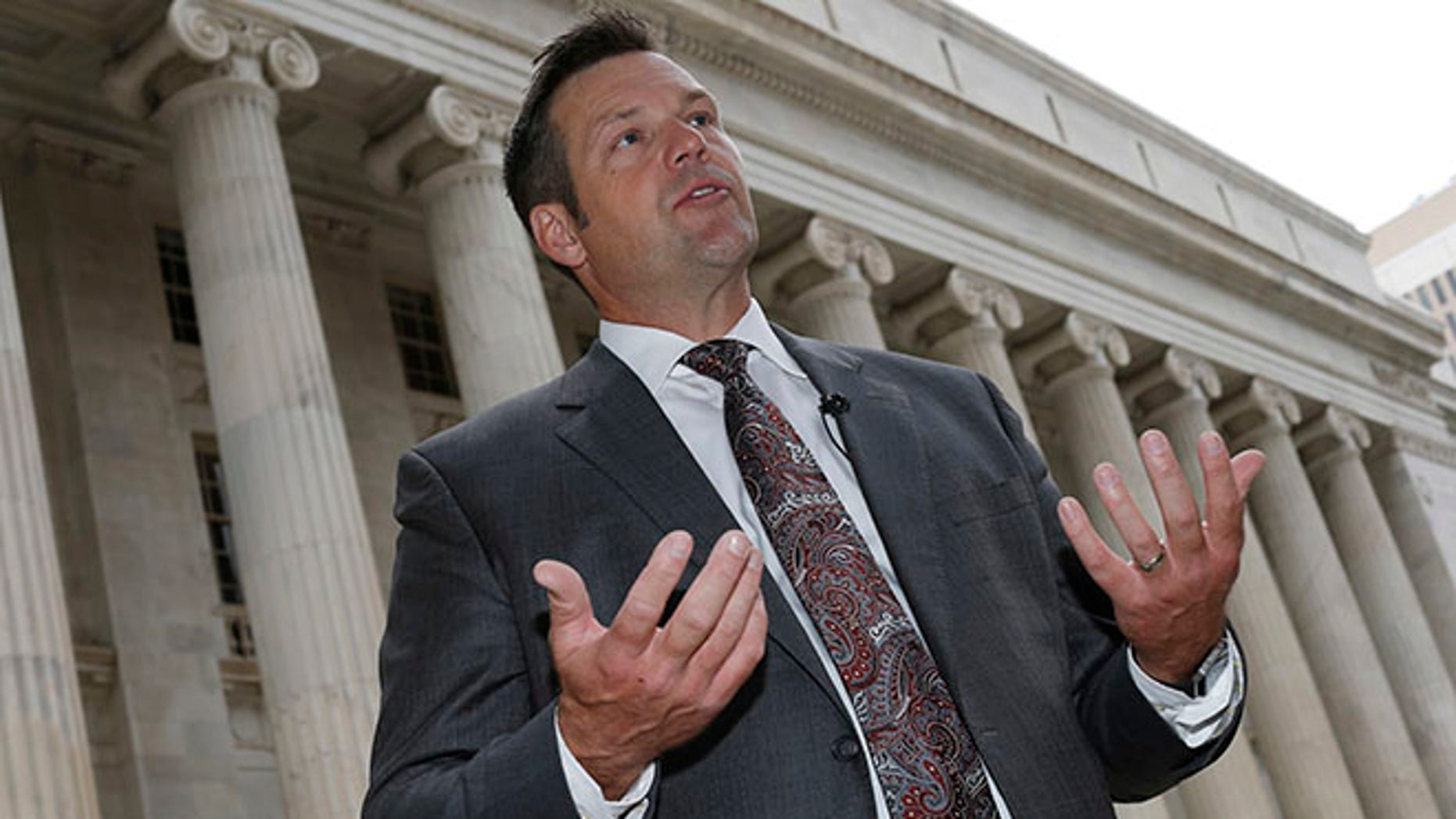 Kansas Secretary of State Kris Kobach on Tuesday, Aug. 23, 2016 in Denver.