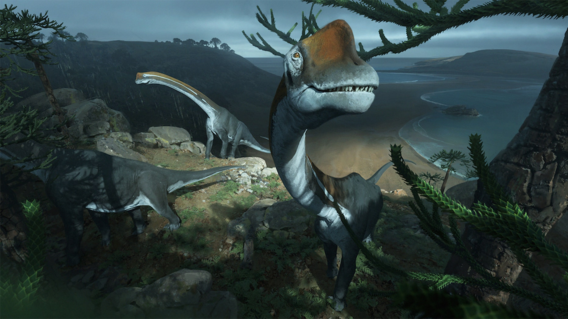 A herd of Vouivria damparisensis dinosaurs roaming the coastline of ancient Europe.
