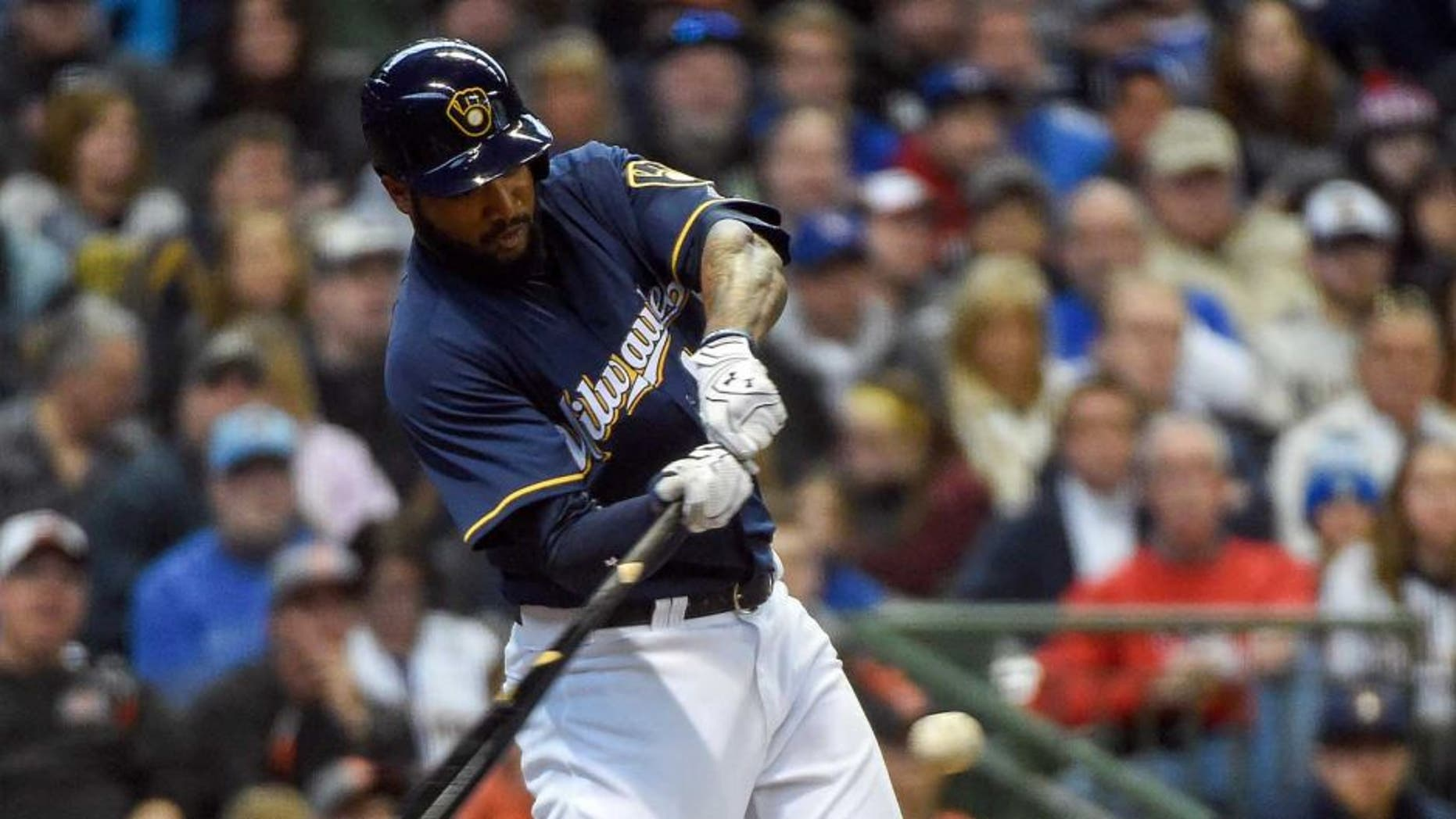 Sunday, April 10: Milwaukee Brewers right fielder Domingo Santana drives in a run with a double in the fourth inning against the Houston Astros at Miller Park in Milwaukee. The Brewers took the series with a 3-2 win.