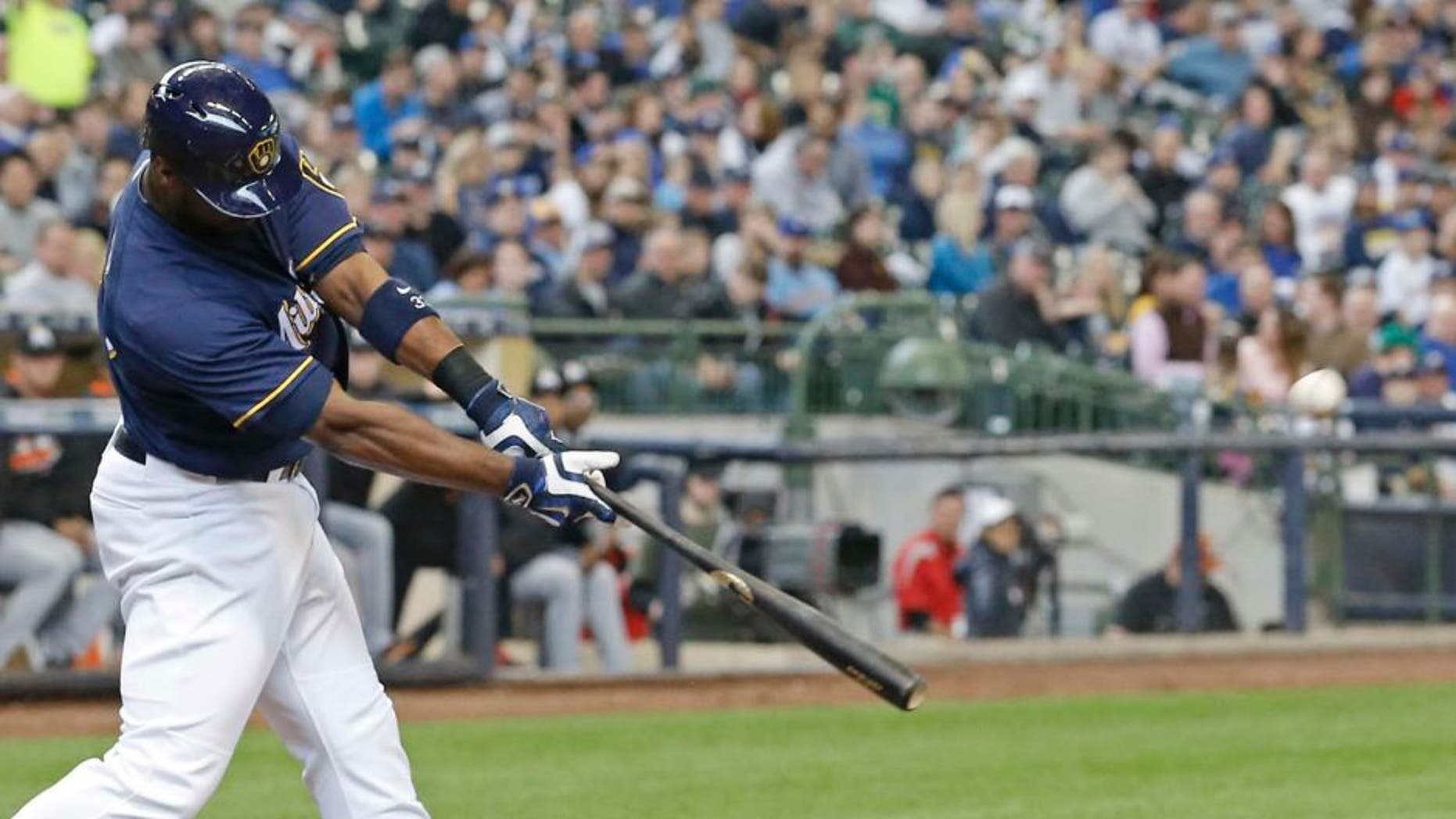 Sunday, May 1: The Milwaukee Brewers' Chris Carter hits a two-run home run during the third inning against the Miami Marlins in Milwaukee. Carter had two homers in the 14-5 win.