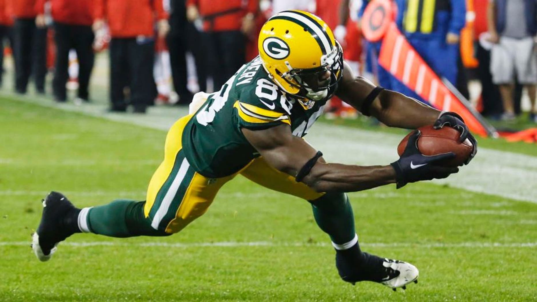 Monday, Sept. 28: The Green Bay Packers' Ty Montgomery catches a touchdown pass during the first half against the Kansas City Chiefs.