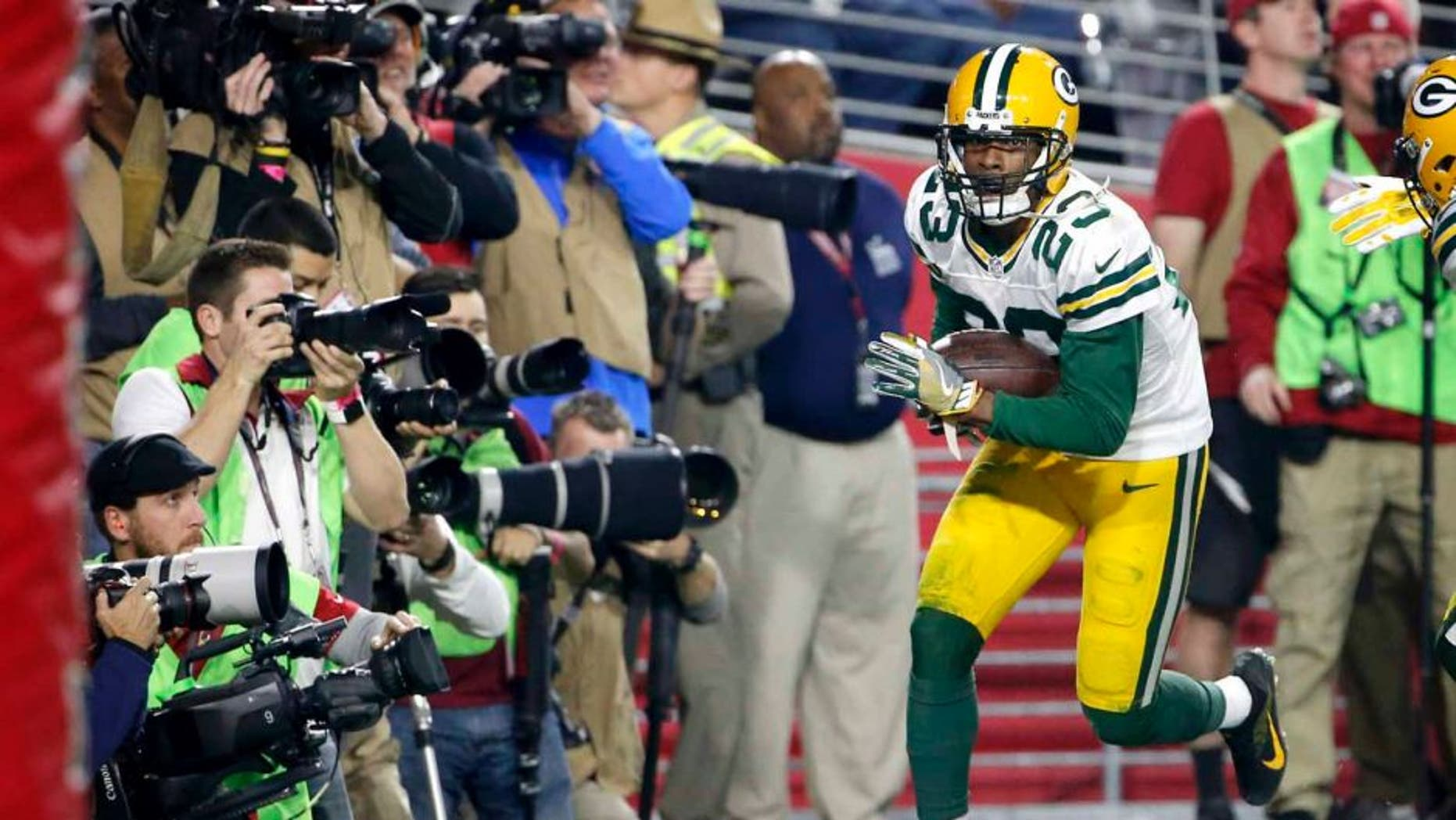 Saturday, Jan. 16: Green Bay Packers cornerback Damarious Randall celebrates his interception in the end zone against the Arizona Cardinals during the second half in Glendale, Ariz.
