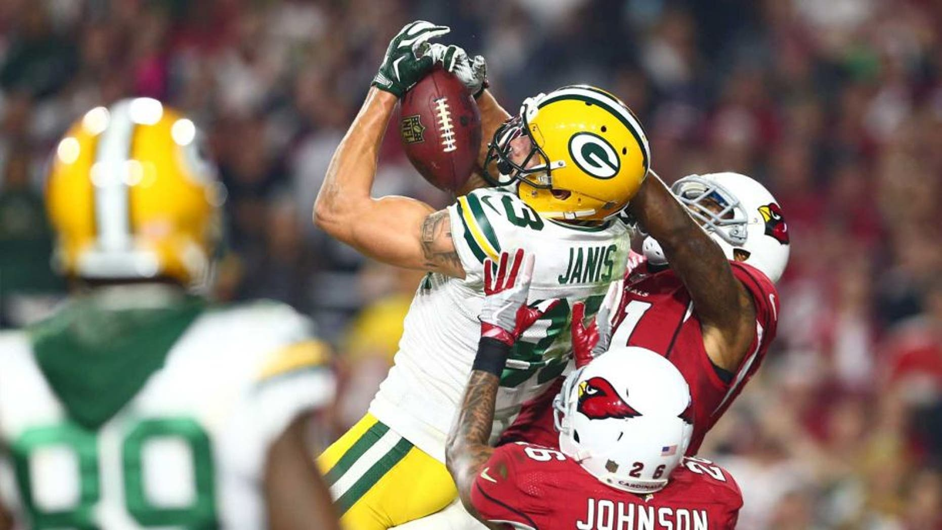 Saturday, Jan. 16: Green Bay Packers wide receiver Jeff Janis catches a Hail Mary pass for a touchdown against the Arizona Cardinals during the fourth quarter in a NFC Divisional Round playoff game at University of Phoenix Stadium in Glendale, Ariz.