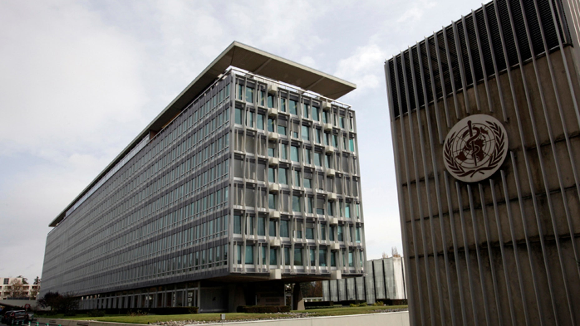 The World Health Organization (WHO) headquarters is seen in Geneva.