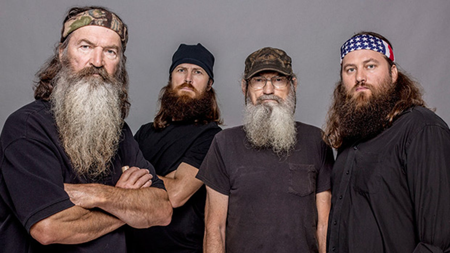 """Pictured from left, Phil Robertson, Jase Robertson, Si Robertson and Willie Robertson from the A&E series, """"Duck Dynasty""""."""