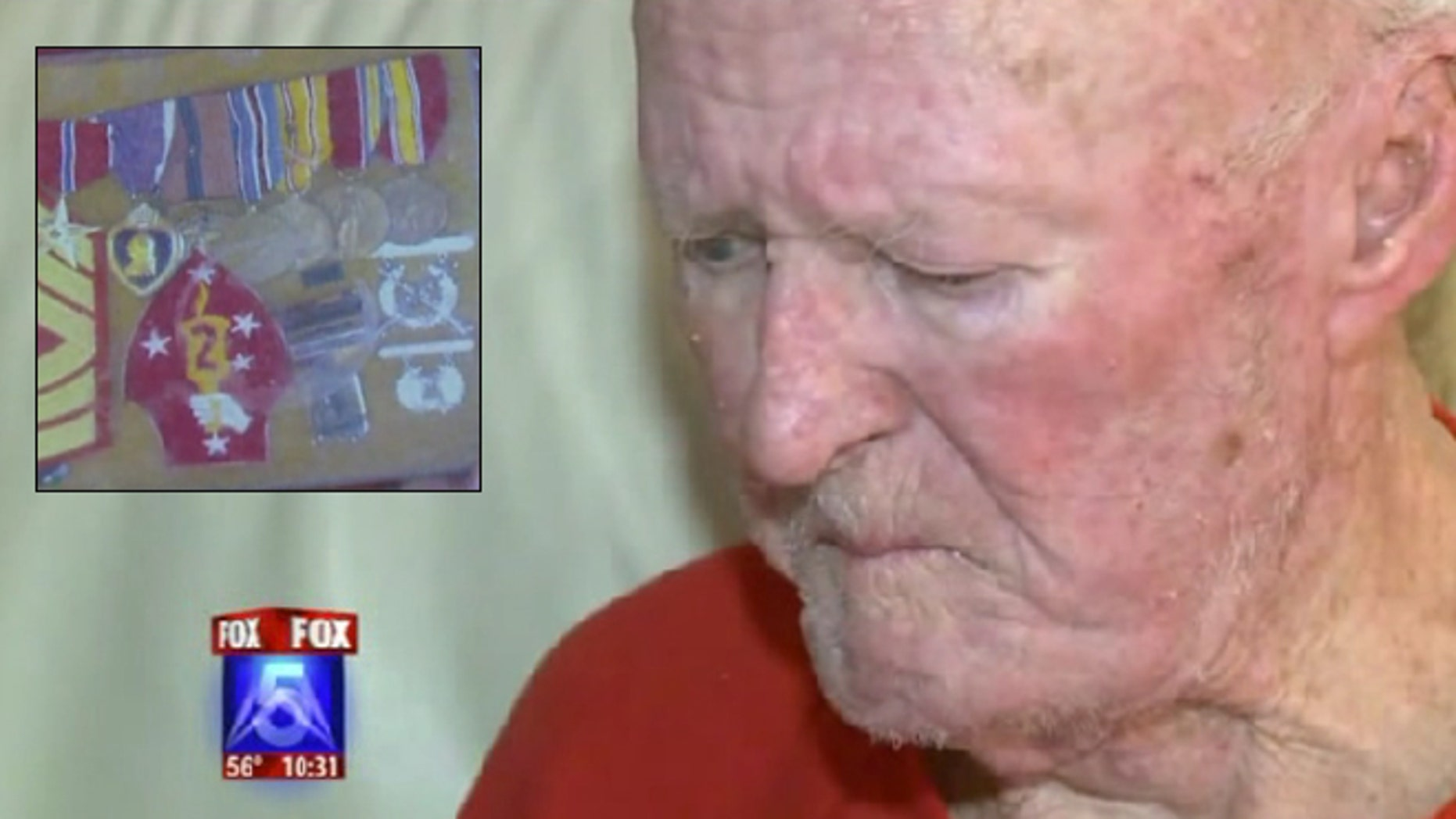 Clyde Kellogg stormed the beaches of Guadalcanal experiencing intense combat. He says his war medals were taken from his wall on Friday.