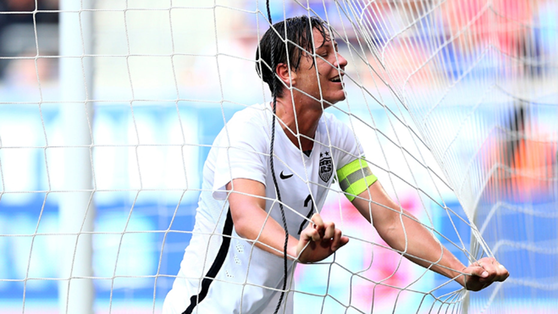 HARRISON, NJ - MAY 30:  Abby Wambach #20 of United States reacts after missing a shot in the first half against South Korea during their international friendly match at Red Bull Arena on May 30, 2015 in Harrison, New Jersey.  (Photo by Elsa/Getty Images)