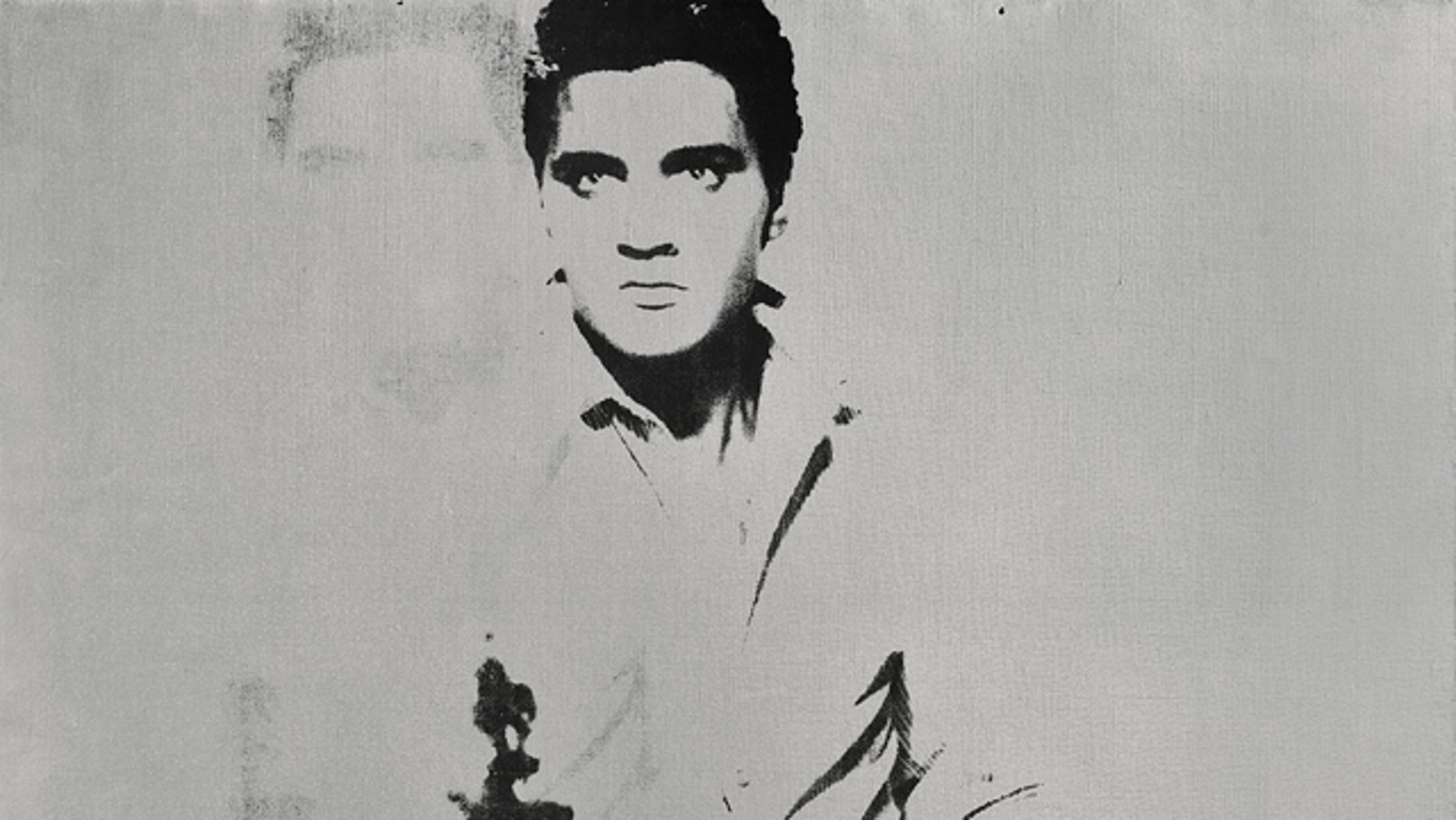 FILE - This undated image provided by Sotheby's shows Andy Warhol's portrait of Elvis Presley depicted as a cowboy. The painting, with a silver background, Double Elvis [Ferus Type] is estimated to sell for between $30 million to $50 million at Sothebys in New York on Wednesday May 9, 2012.