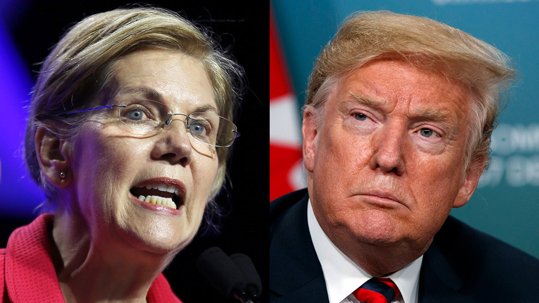 "Sen. Elizabeth Warren, D-Mass., (left) announced on Friday that she had sent a letter to the Securities and Exchange Commission and the Commodities Futures Trading Commission concerning what she said were Trump's ""reckless comments on market-moving economic data prior to their public release."""