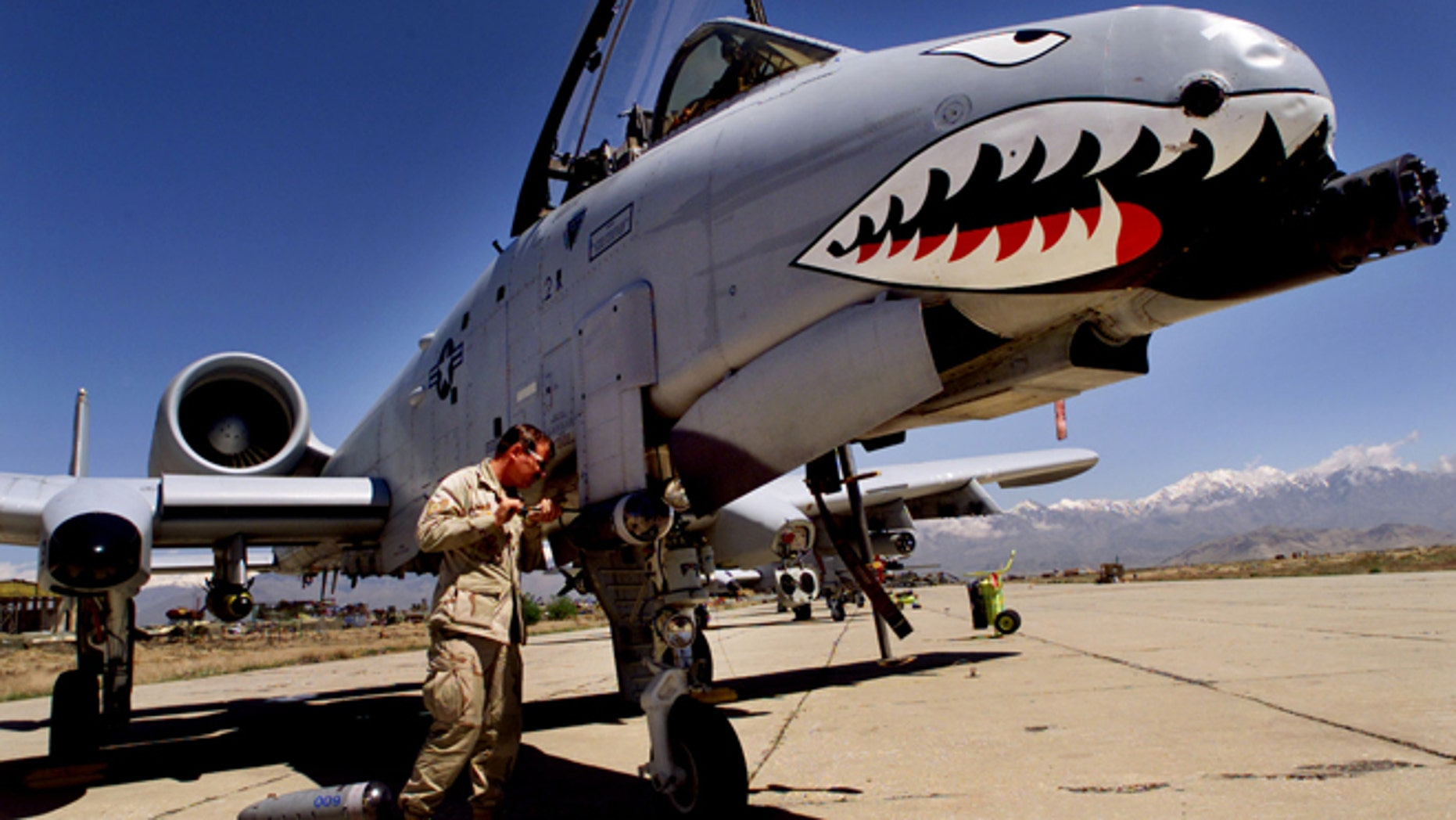 FILE: Staff Sergeant Keith Haas of the US Air Force adjusts equipment on a A-10 Warthog warplane at Bagram Air Base, north of Kabul.