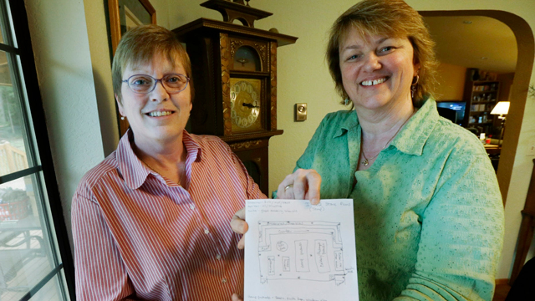 Mar. 5, 2013: Kim Ridgway, left, and her wife Kimberly Bliss, right, pose for a photo.