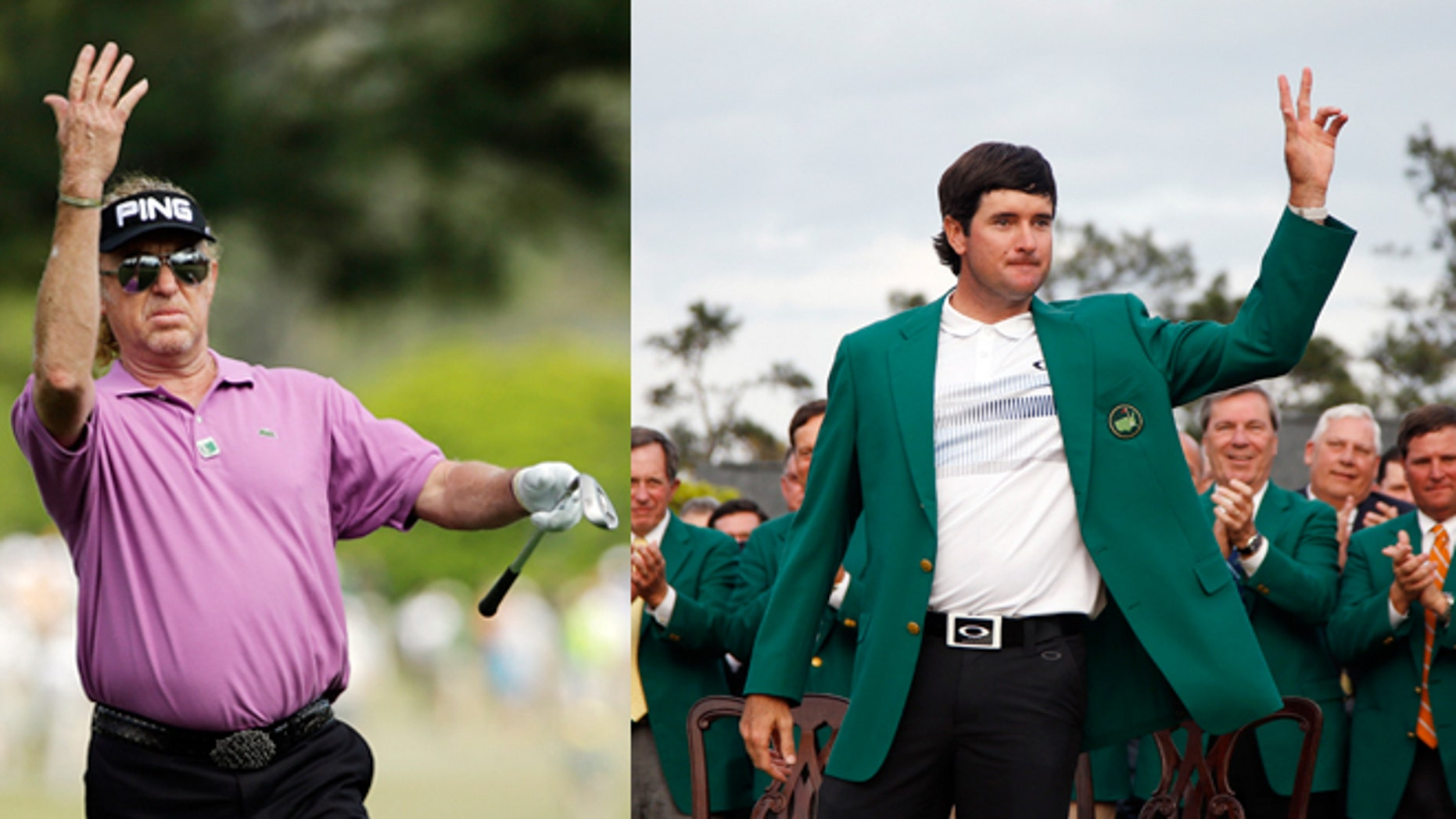Left: Miguel Angel Jiménez of Spain, with a chance to become the oldest winner of a golf major, urges his ball on during the fourth round of the Masters golf tournament Sunday in Augusta, Ga. (AP Photo/David J. Phillip) Right: Bubba Watson waves after being presented with his green jacket for winning the Masters golf tournament Sunday, April 13, 2014. (AP Photo/Matt Slocum)