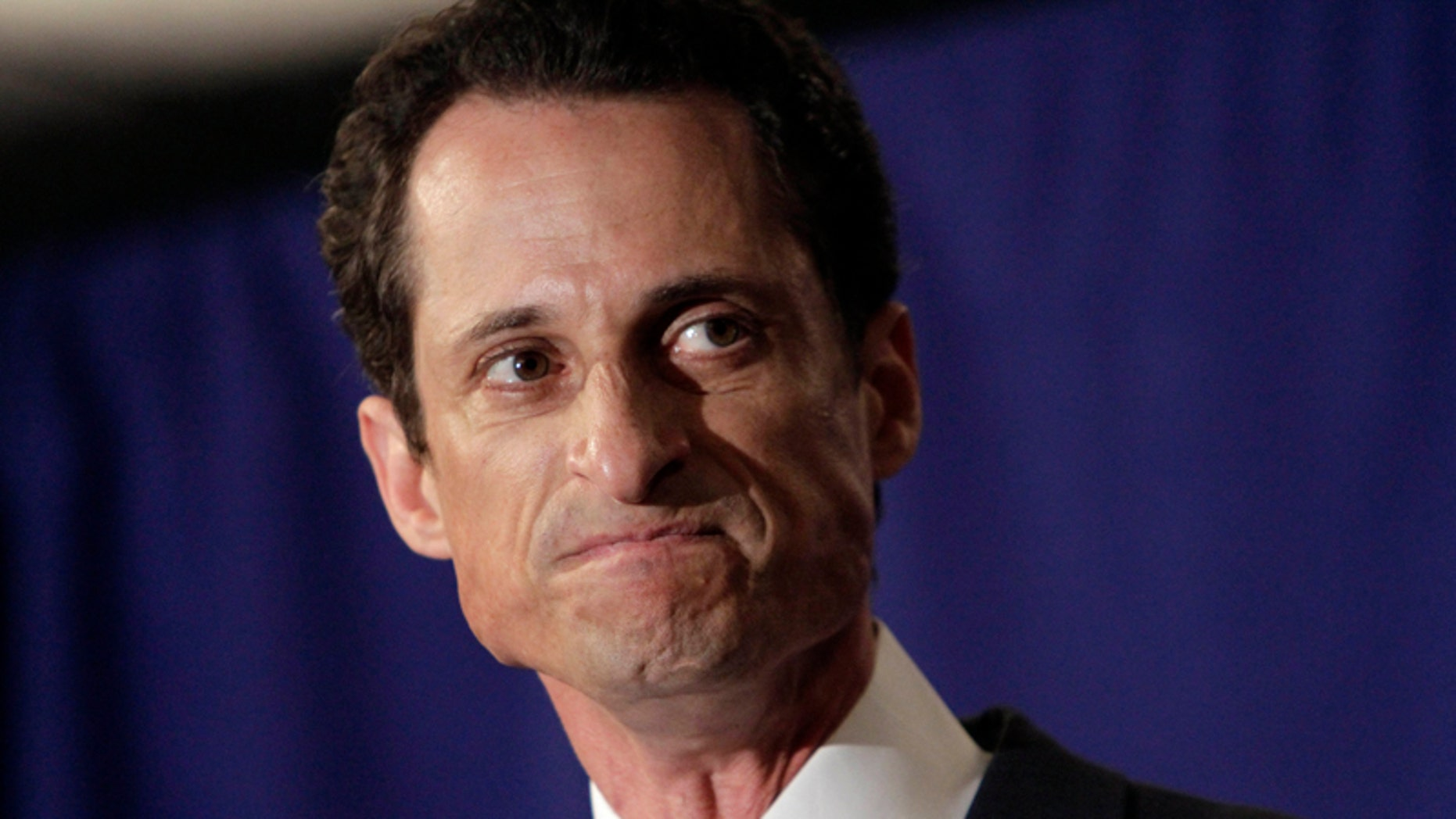 """U.S. Rep. Anthony Weiner, D-N.Y., reacts during a news conference in New York,  Monday, June 6, 2011. After days of denials, a choked-up New York Democratic Rep. Anthony Weiner confessed Monday that he tweeted a bulging-underpants photo of himself to a young woman and admitted to """"inappropriate"""" exchanges with six women before and after getting married."""