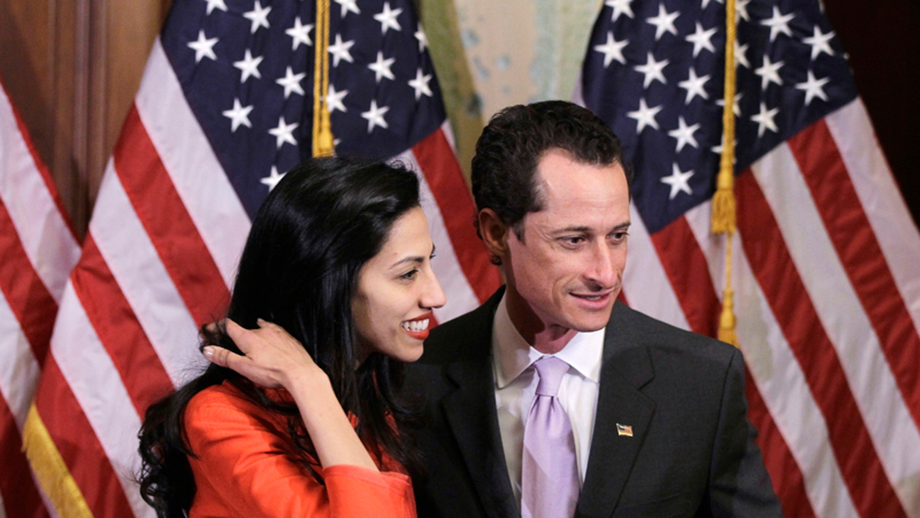 Jan. 5, 2011: Rep. Anthony Weiner, D-N.Y., and his wife, Huma Abedin, an aide to Secretary of State Hillary Clinton, are pictured after a ceremonial swearing in of the 112th Congress on Capitol Hill in Washington.
