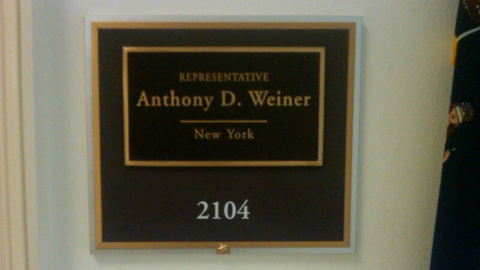 Rep. Anthony Weiner's nameplate remains outside his Capitol Hill office. (Fox News Photo / Chad Pergram)