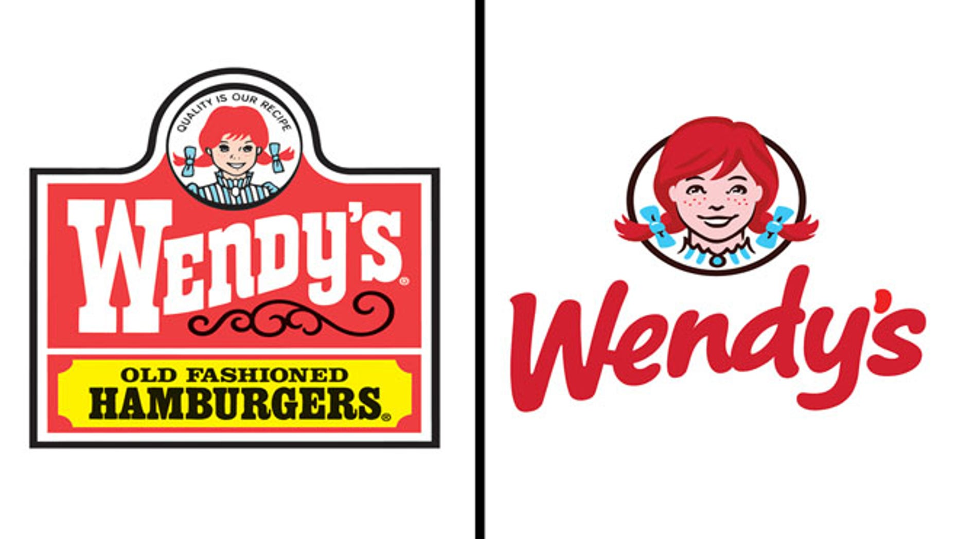 Wendy's original logo, left, and new logo, right
