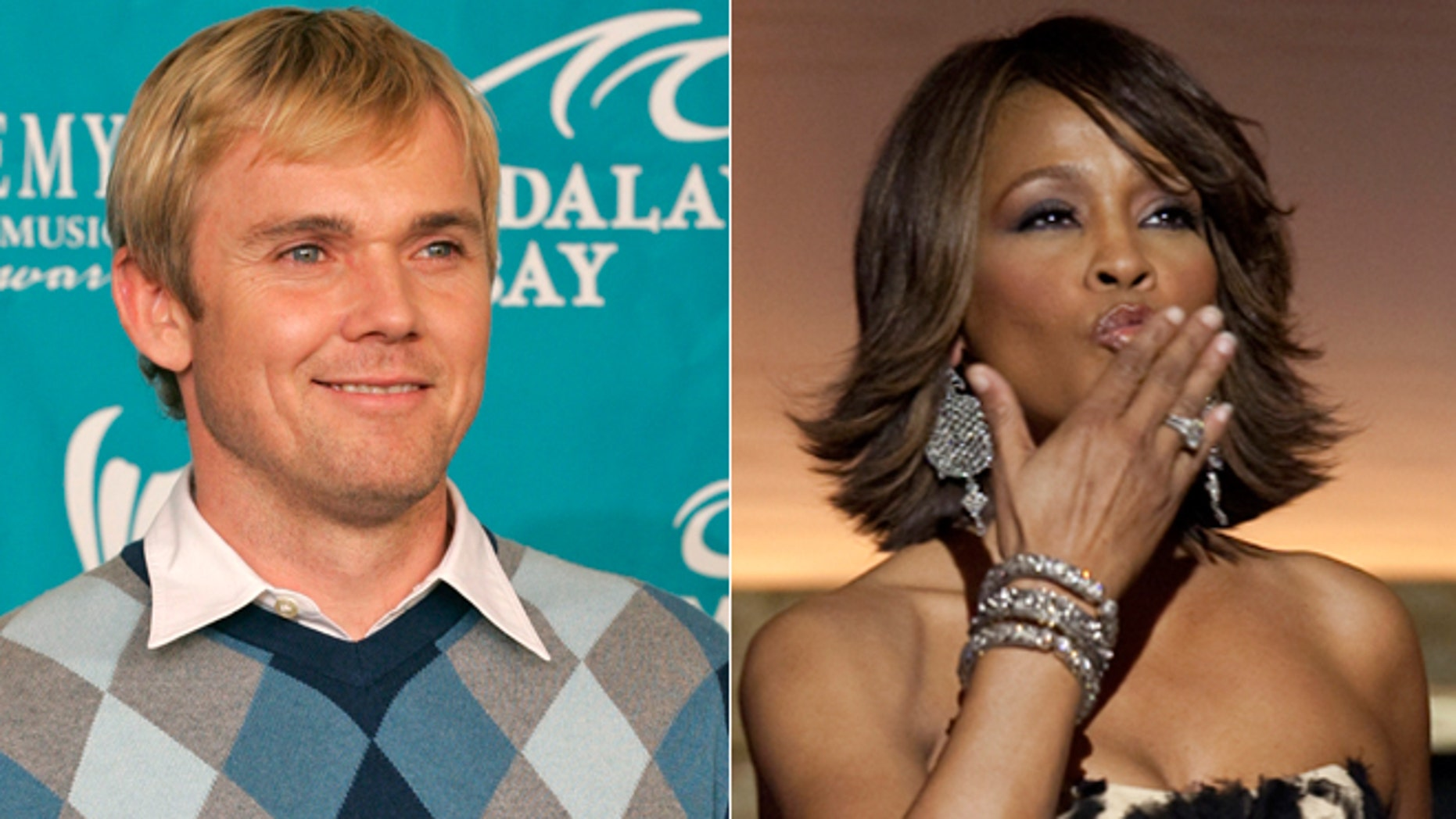 Ricky Schroder, left, and Whitney Houston, right, are shown.