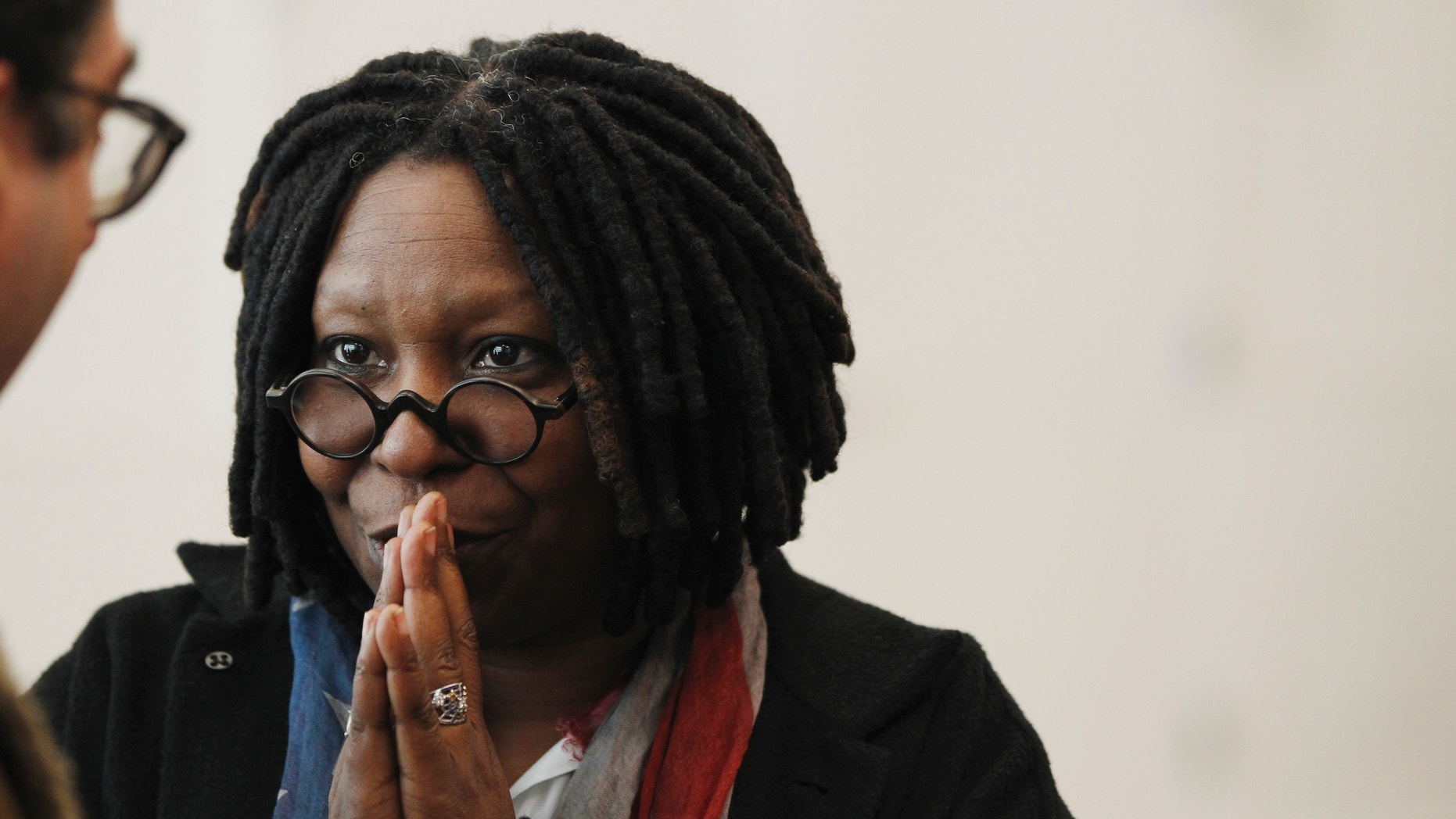 """Actress and producer Whoopi Goldberg speaks to members of the audience during a press day for the play """"Sister Act"""" at the New 42nd St. Studios in New York March 2, 2011."""