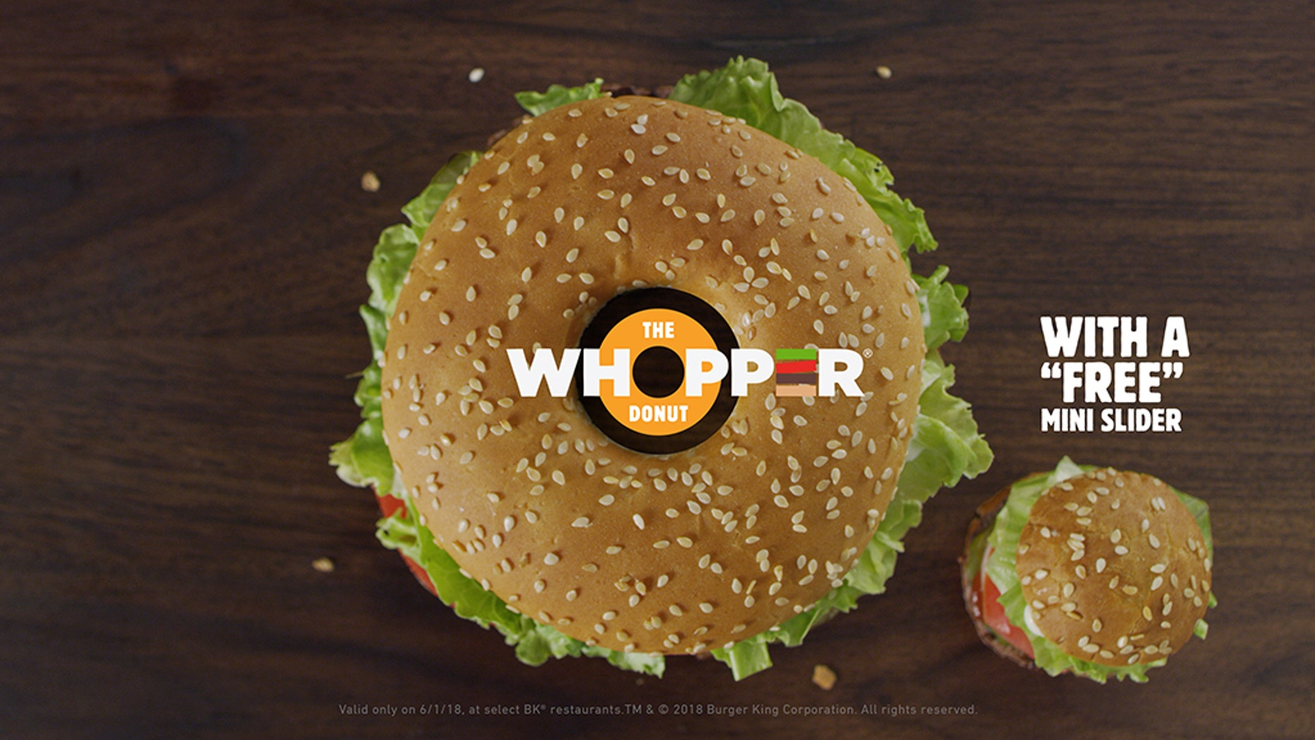 """Burger King is planning to sell the """"Whopper Donut"""" on National Doughnut Day."""