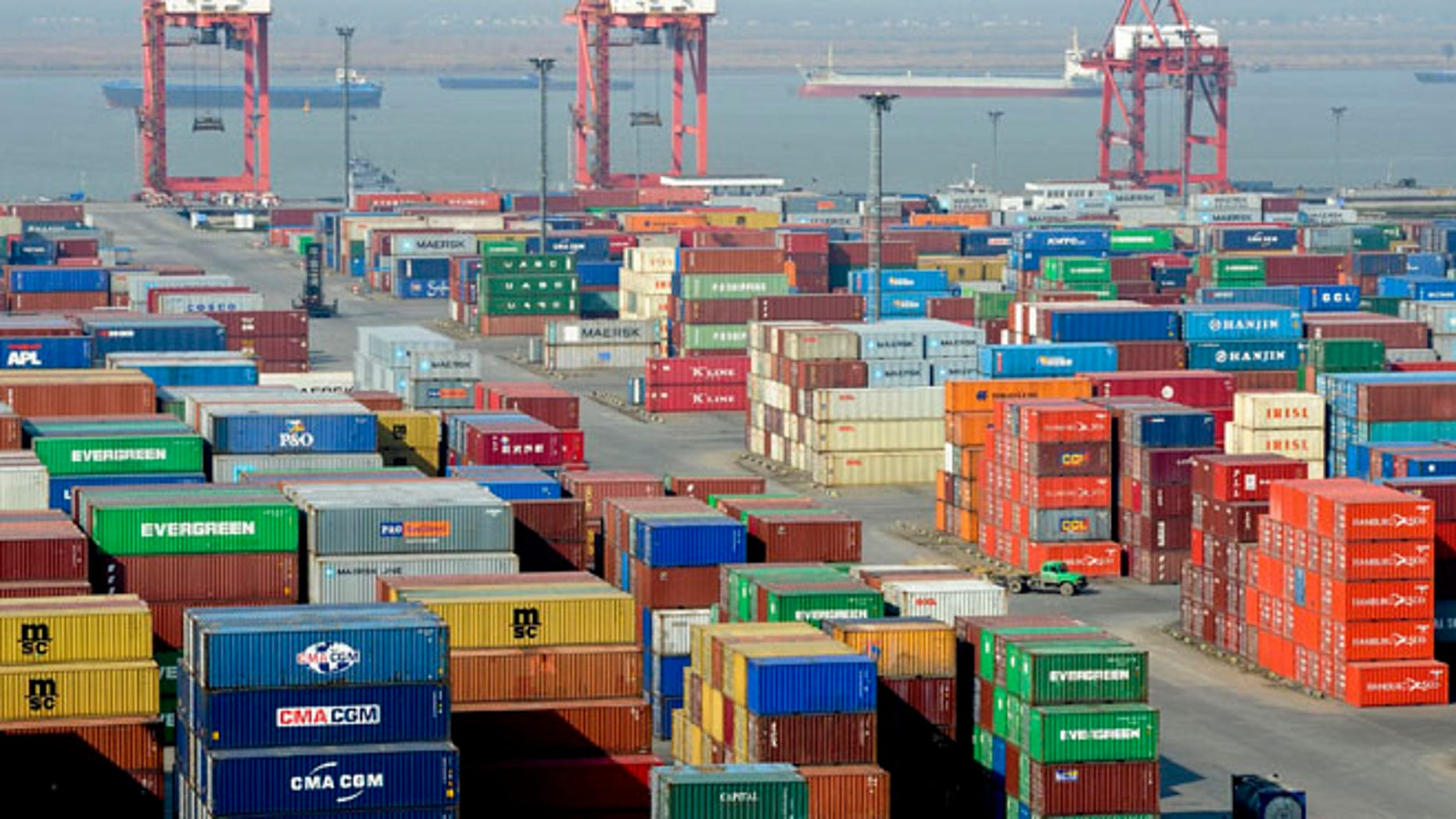 Dec. 10, 2011: A truck leaves a port in Nanjing in east China's Jiangsu province in this file photo.