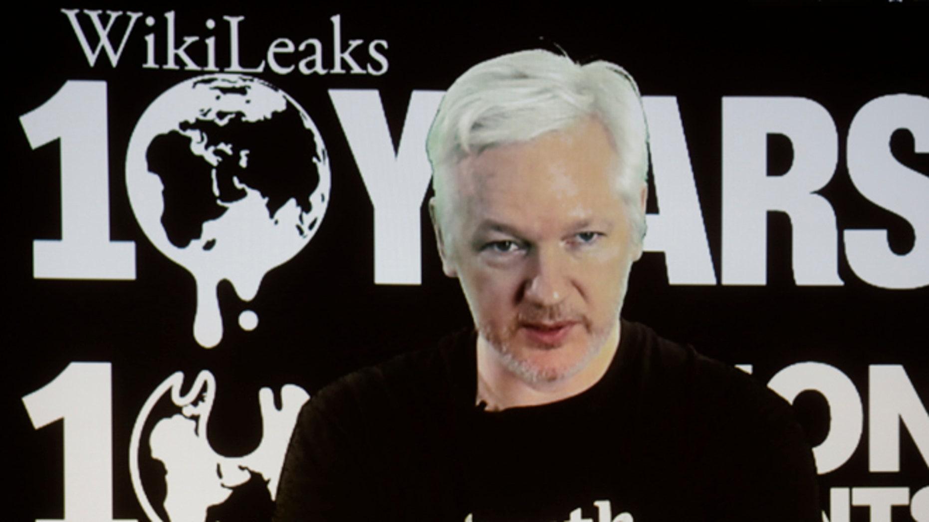 WikiLeaks founder Julian Assange via video link on Oct. 4, 2016.
