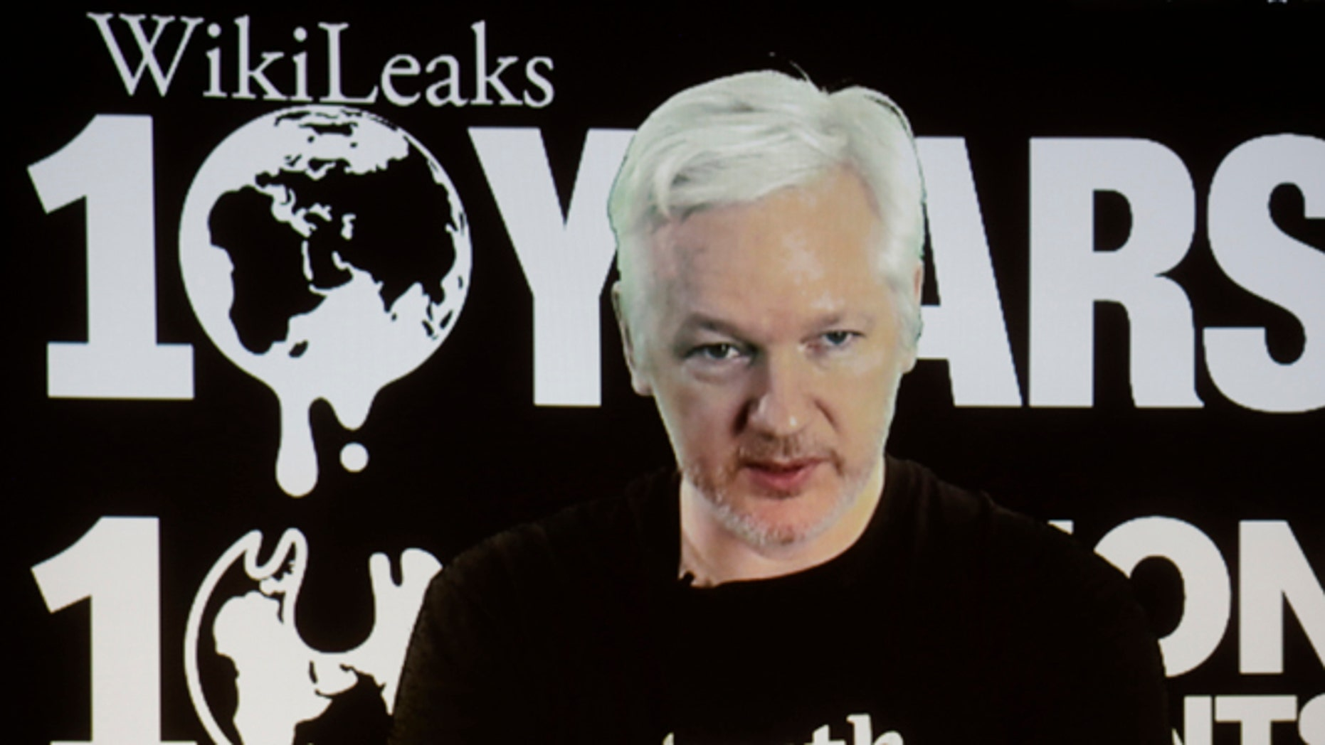 WikiLeaks founder Julian Assange via video link on Oct. 4, 2016.
