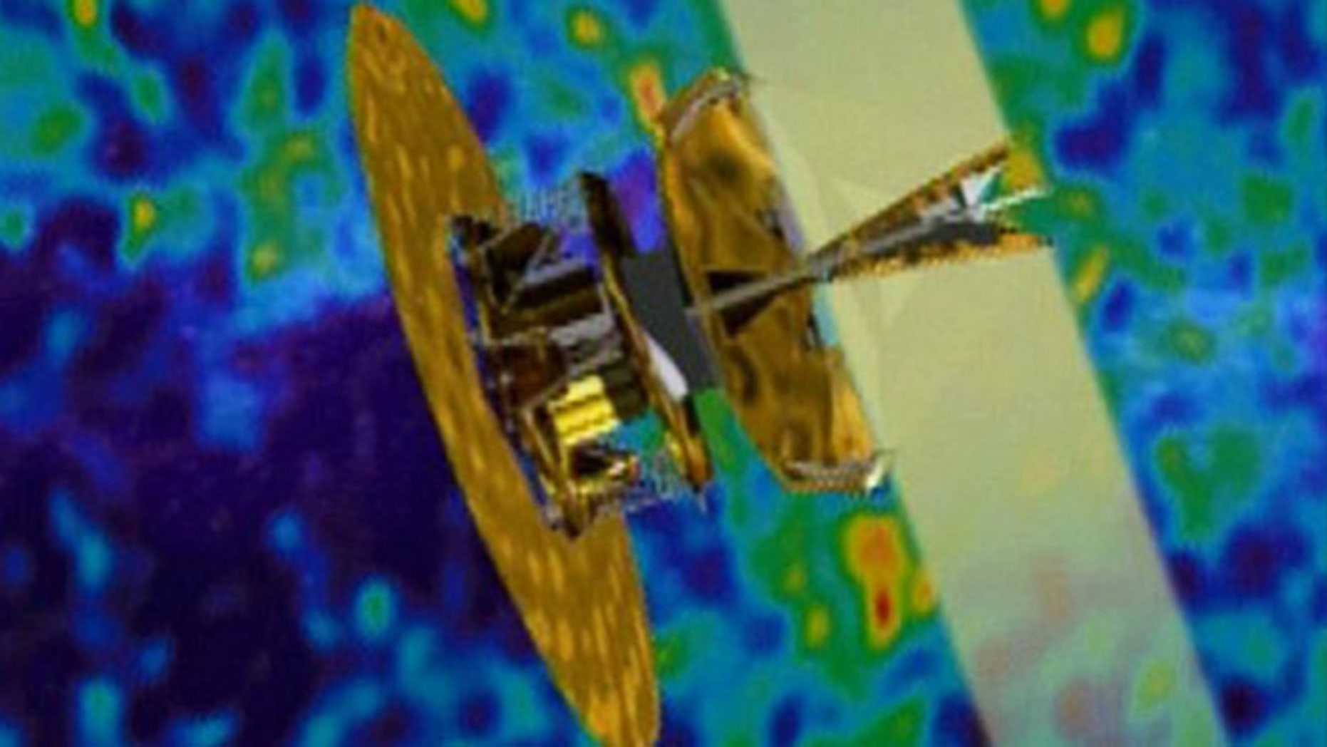 A picture of the Wilkinson Microwave Anisotropy Probe superimposed over a visualization of cosmic microwave background radiation.