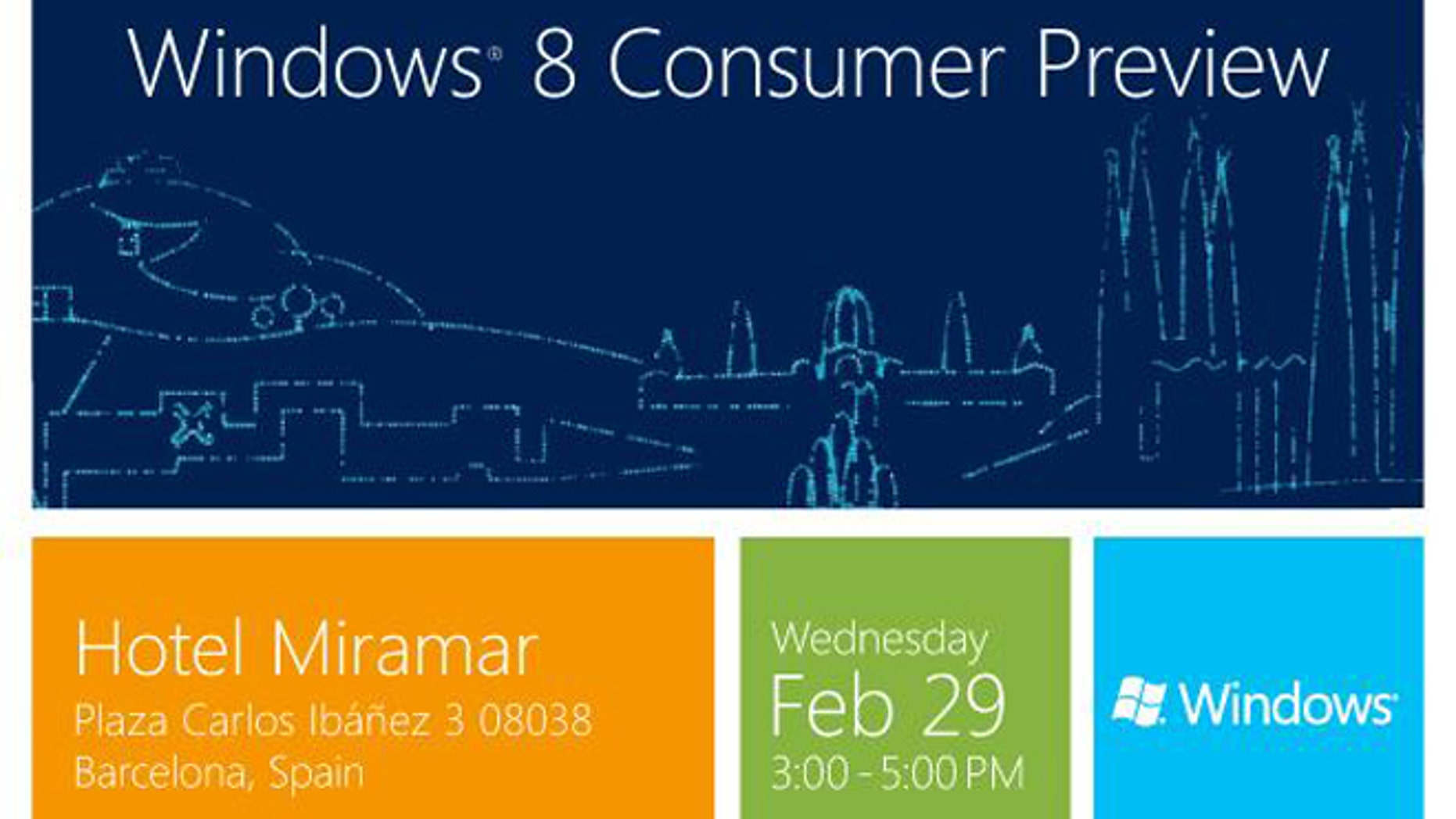 An invitation to Microsoft's Windows 8 Consumer Preview event in Barcelona.