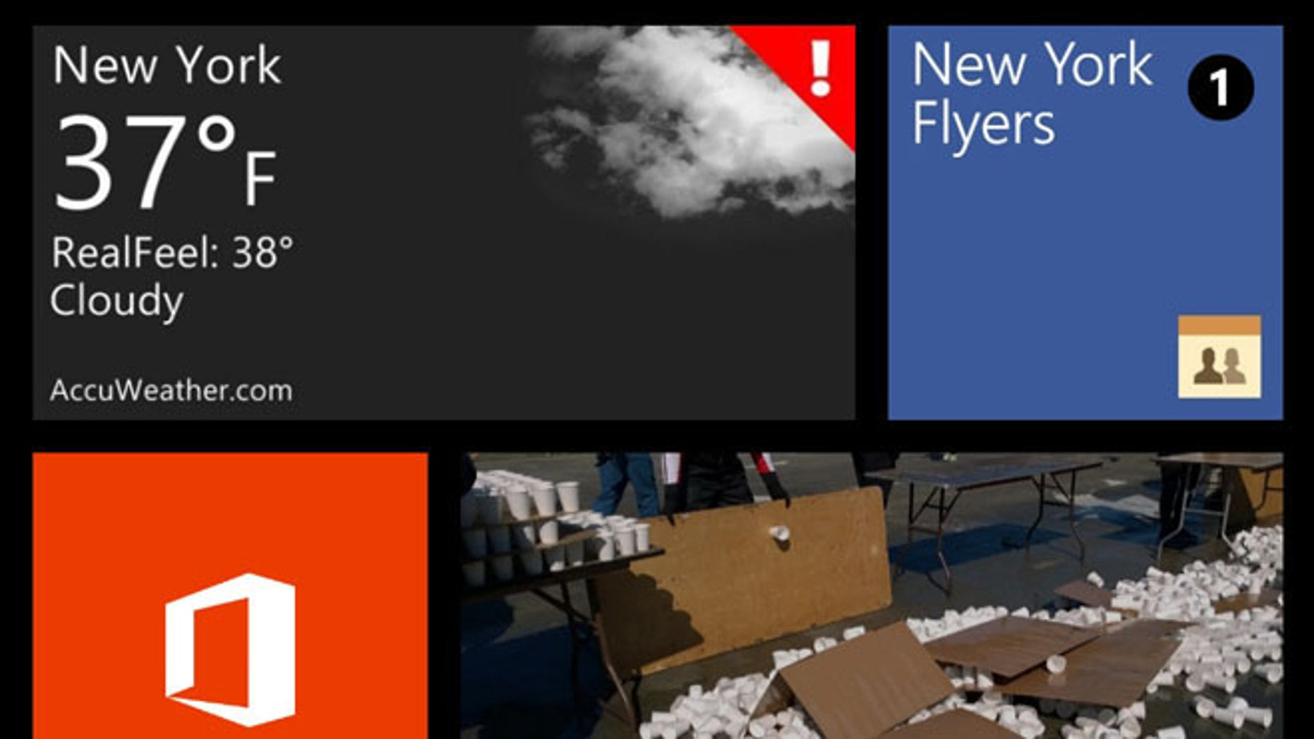 A section of the Microsoft Windows Phone 8 interface. Windows Phone 8 is not the same as Windows 8, the operating system for tablets, laptops and desktops, however.