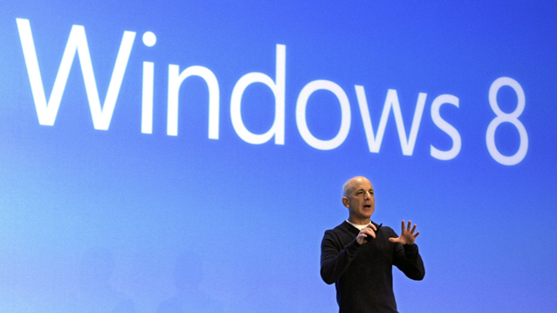 Oct. 25, 2012: Steven Sinofsky, then-president of the Microsoft Windows group, delivers his presentation at the launch of Microsoft Windows 8, in New York.