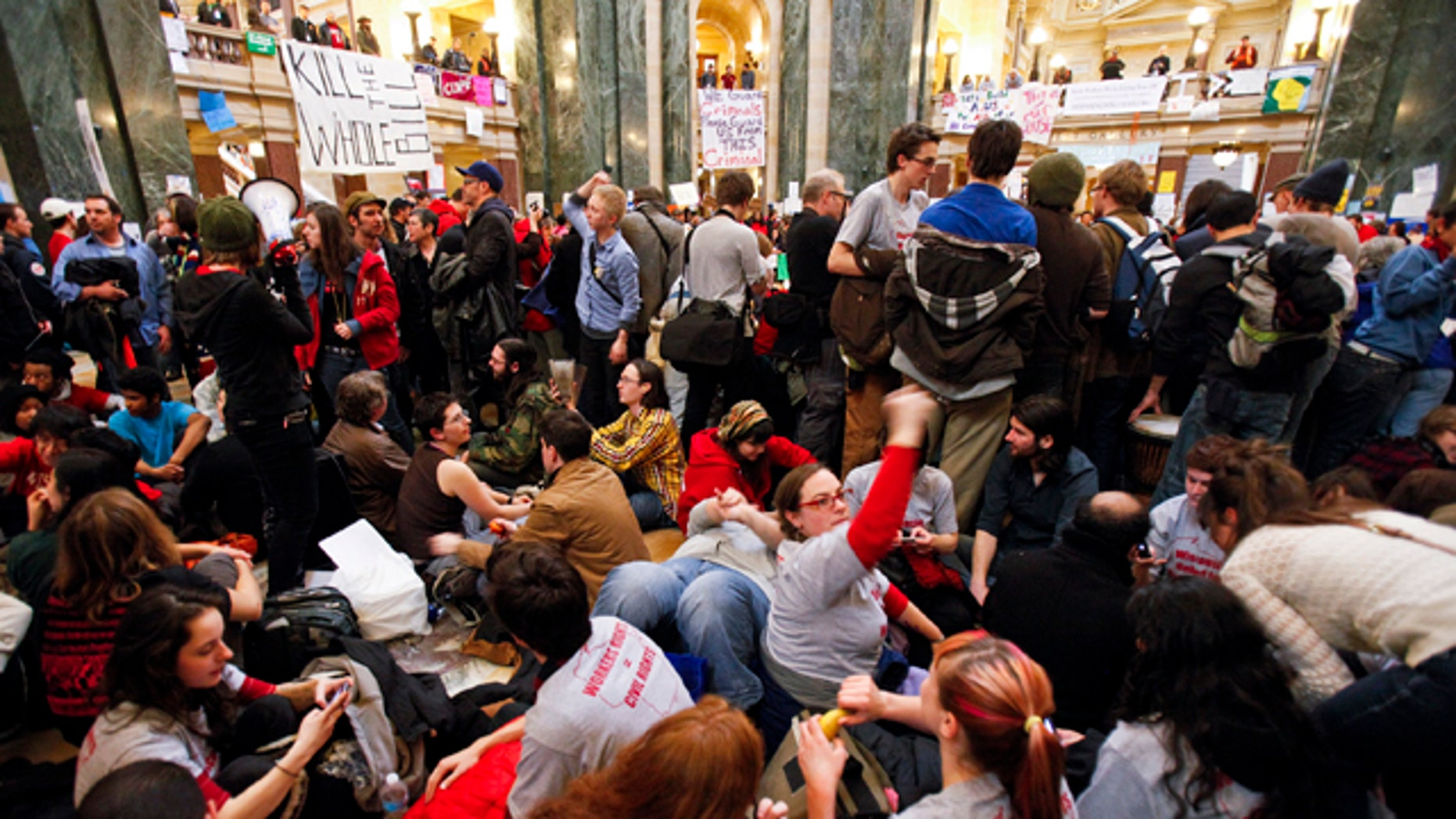 Feb. 27, 2011: Student Labor Action Coalition members demonstrate at the state Capitol in Madison, Wis.