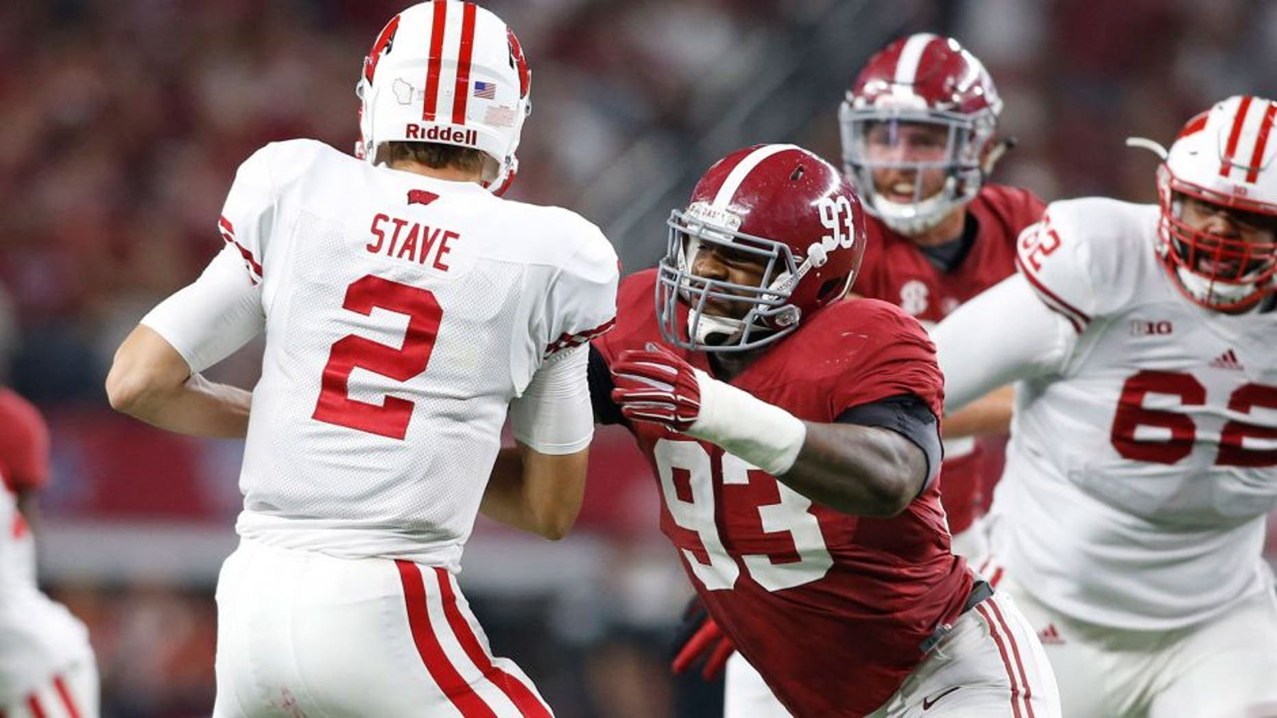 Sep 5, 2015; Arlington, TX, USA; Alabama Crimson Tide defensive lineman Jonathan Allen (93) sacks Wisconsin Badgers quarterback Joel Stave (2) during the second quarter at AT&T Stadium. Mandatory Credit: Tim Heitman-USA TODAY Sports