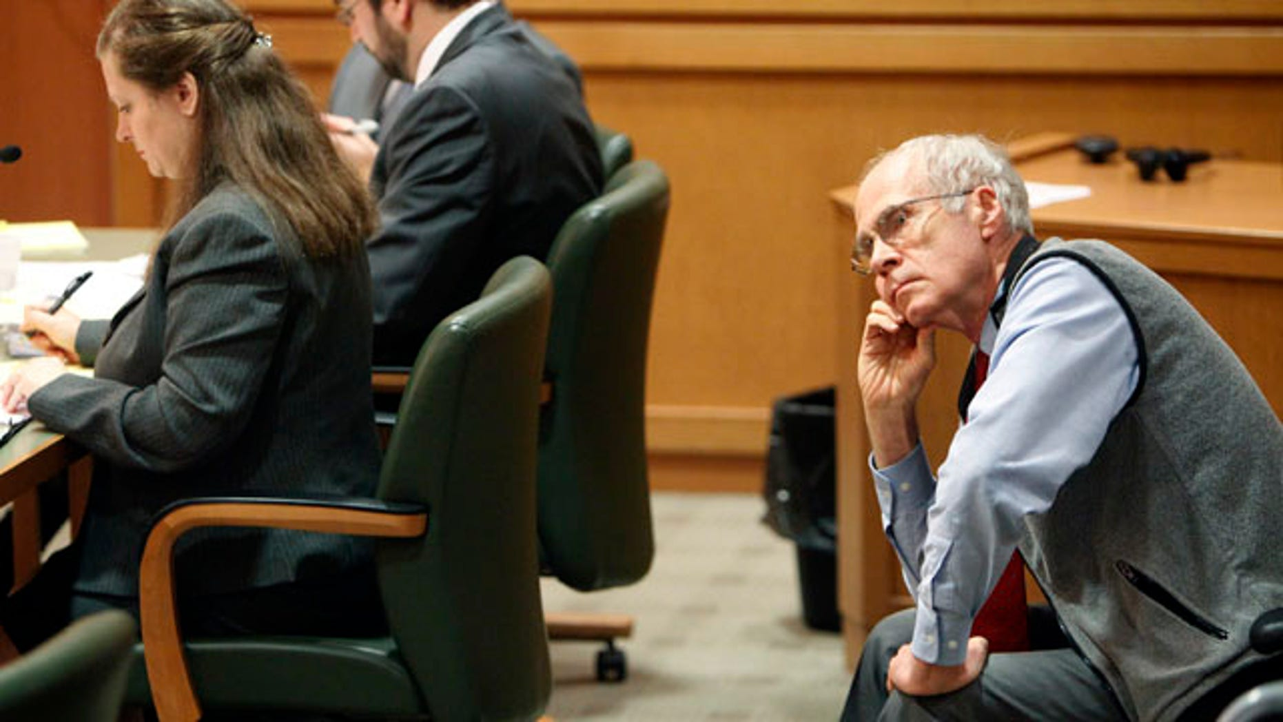 March 18: Wisconsin Secretary of State Doug La Follette listens to arguments during a hearing in Dane County Court in Madison, Wis.
