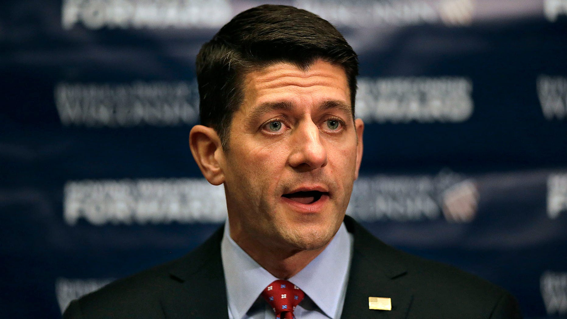 House Speaker Paul Ryan, R-Wis., speaks at a press conference during the Republican Party of Wisconsin State Convention at the KI Convention Center in Green Bay, Wis., on Saturday, May 14, 2016. (Evan Siegle /The Green Bay Press-Gazette via AP) NO SALES; MANDATORY CREDIT