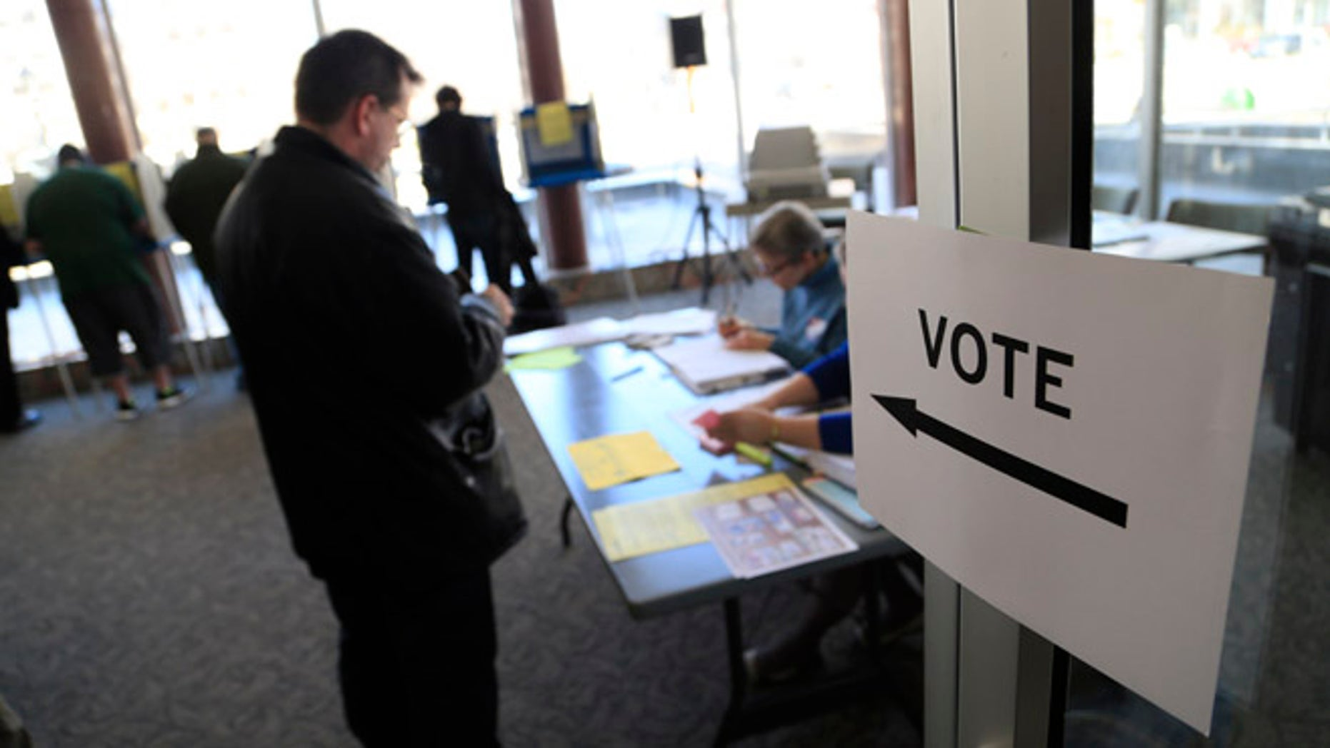 Voters take to the polls at Milwaukee City Hall April 5, 2016 in Milwaukee, Wisconsin.
