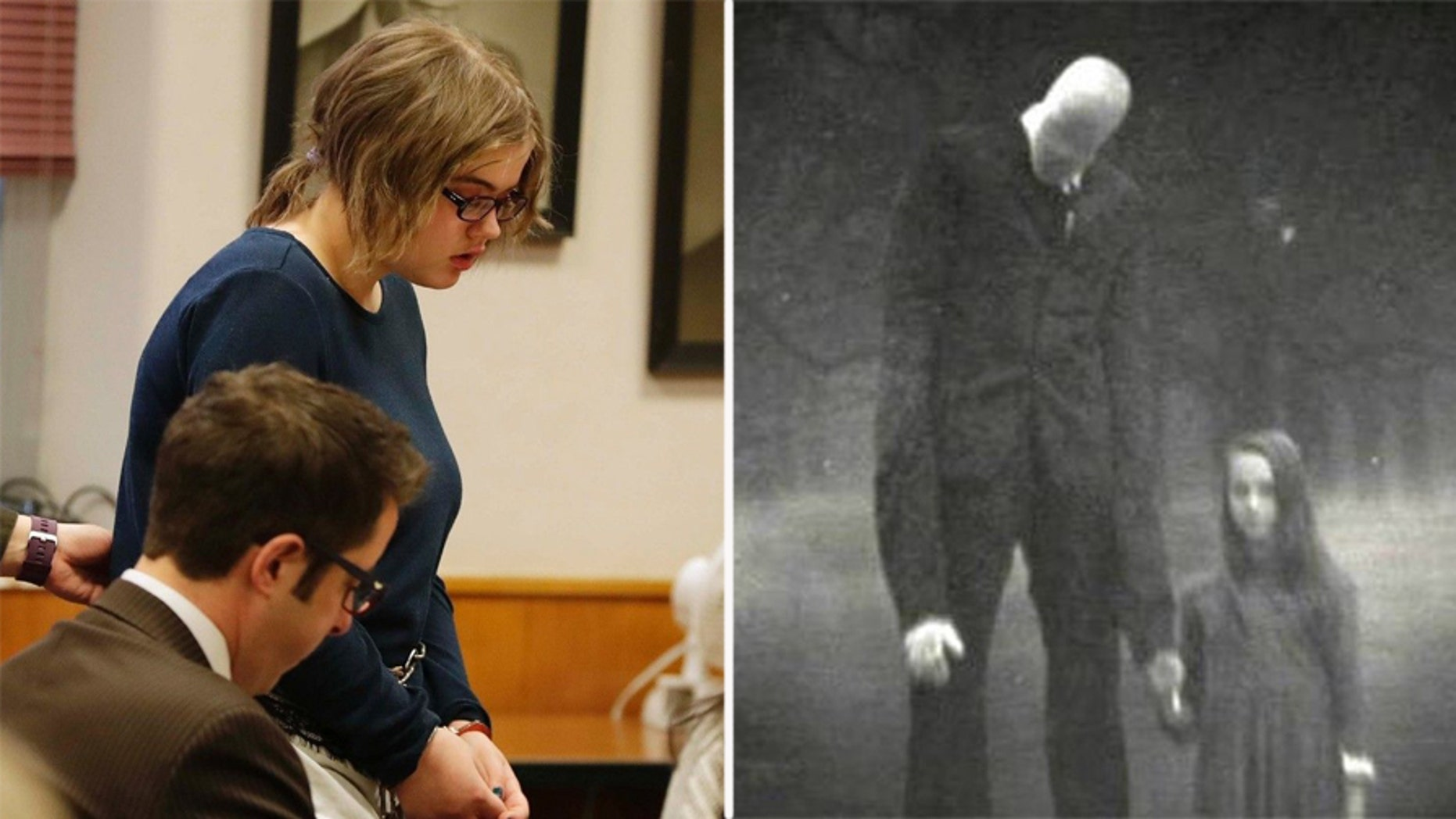 Morgan Geyser, 15, left, appears before sentencing for Waukesha County Circuit Judge Michael Bohren on Thursday. Geyser is one of the two girls who tried to kill a classmate with a knife to appease fictional horror character Slender Man, right.