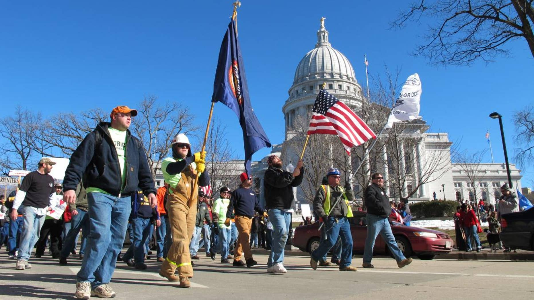 Protesters at the Wisconsin State Capitol in Madison.  FNC Photo