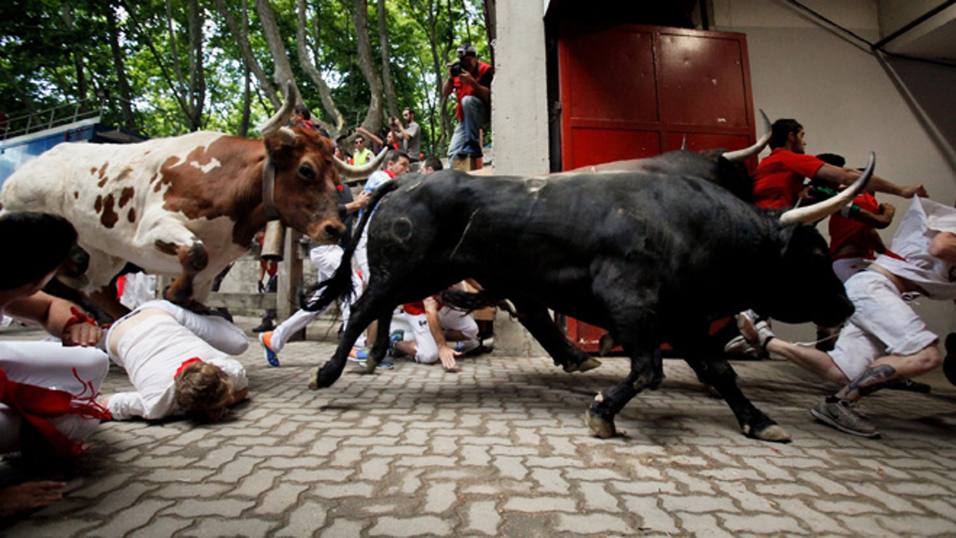 PAMPLONA, SPAIN - JULY 08:  Revellers fall while running with the Tajo and the Reina's fighting bulls entering the bullring during the third day of the San Fermin Running Of The Bulls festival on July 8, 2015 in Pamplona, Spain. The annual Fiesta de San Fermin, made famous by the 1926 novel of US writer Ernest Hemmingway entitled 'The Sun Also Rises', involves the daily running of the bulls through the historic heart of Pamplona to the bull ring.  (Photo by Pablo Blazquez Dominguez/Getty Images)