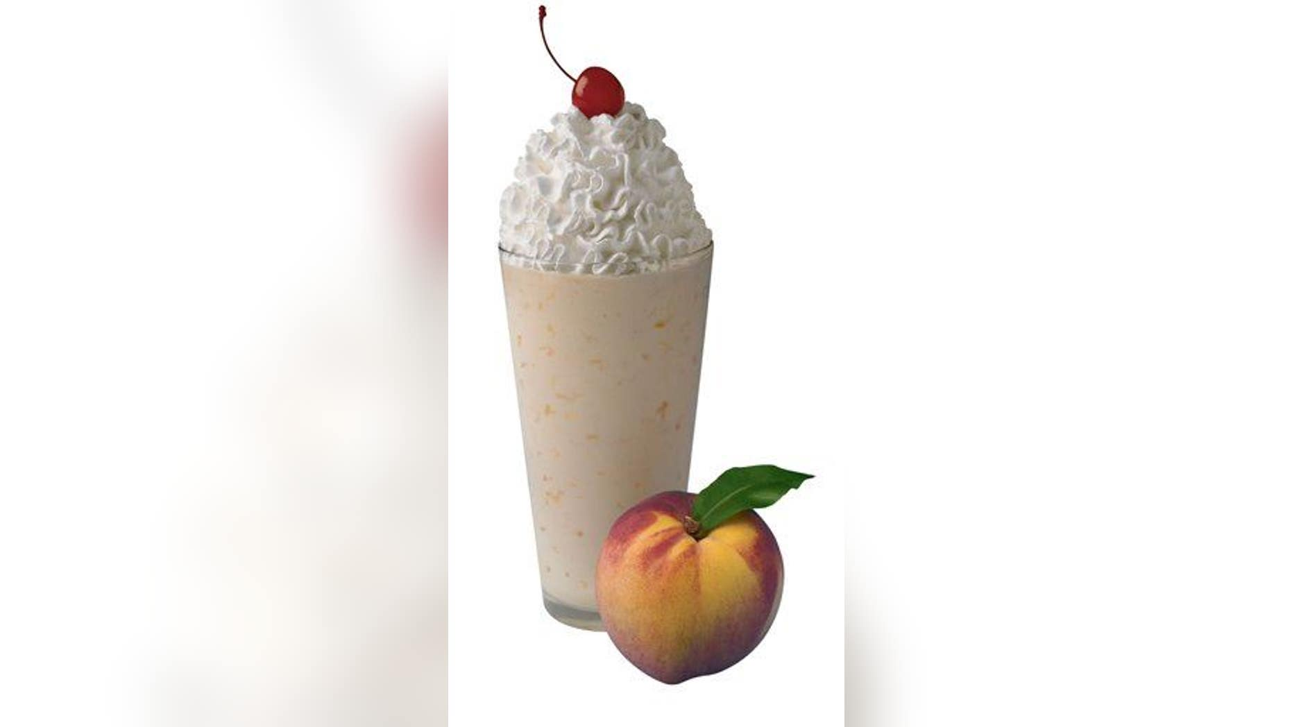 A Chick-fil-A shake (a peach one) is shown here.