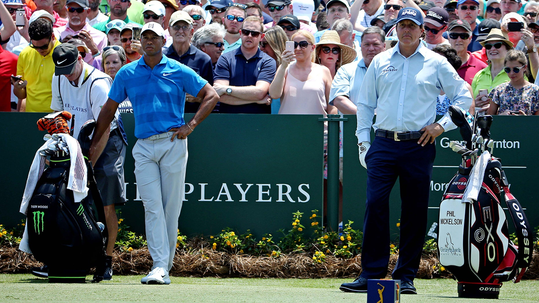 Tiger Woods, left, and Phil Mickelson. The pair reportedly are trying to arrange a $10 million winner-take-all match.