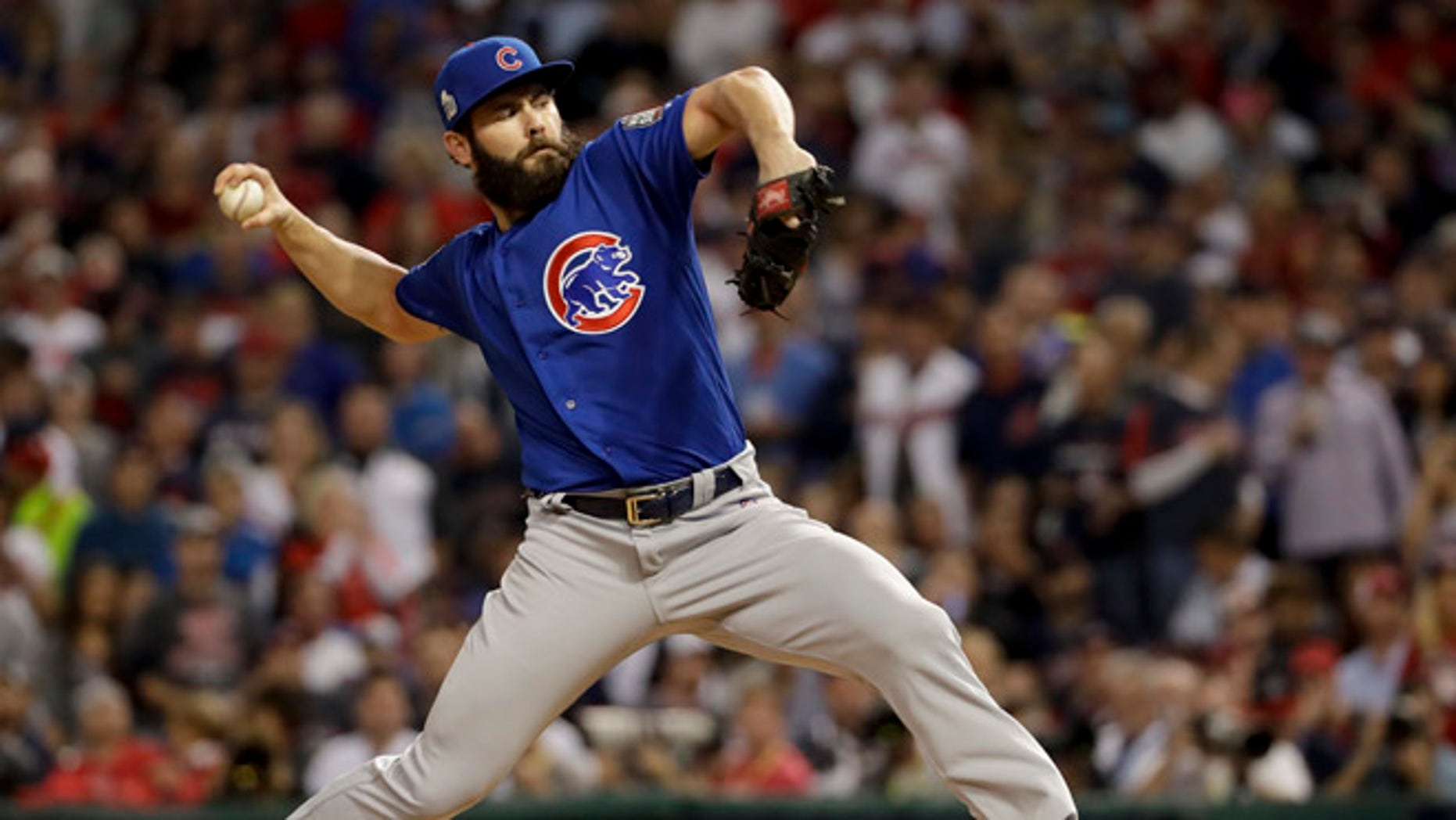 Jake Arrieta during the first inning of Game 6 of the MLB World Series Tuesday, Nov. 1, 2016, in Cleveland.